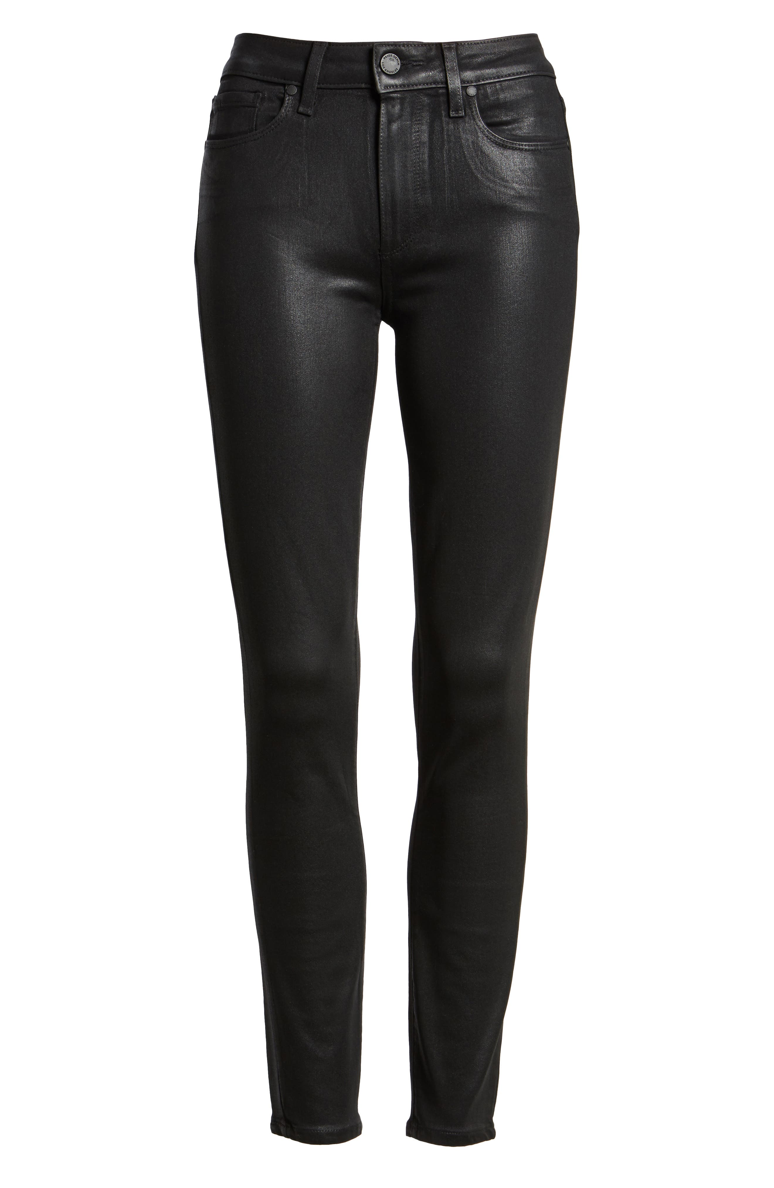 PAIGE,                             Transcend - Hoxton High Waist Ankle Skinny Jeans,                             Alternate thumbnail 7, color,                             LUXE BLACK COATED