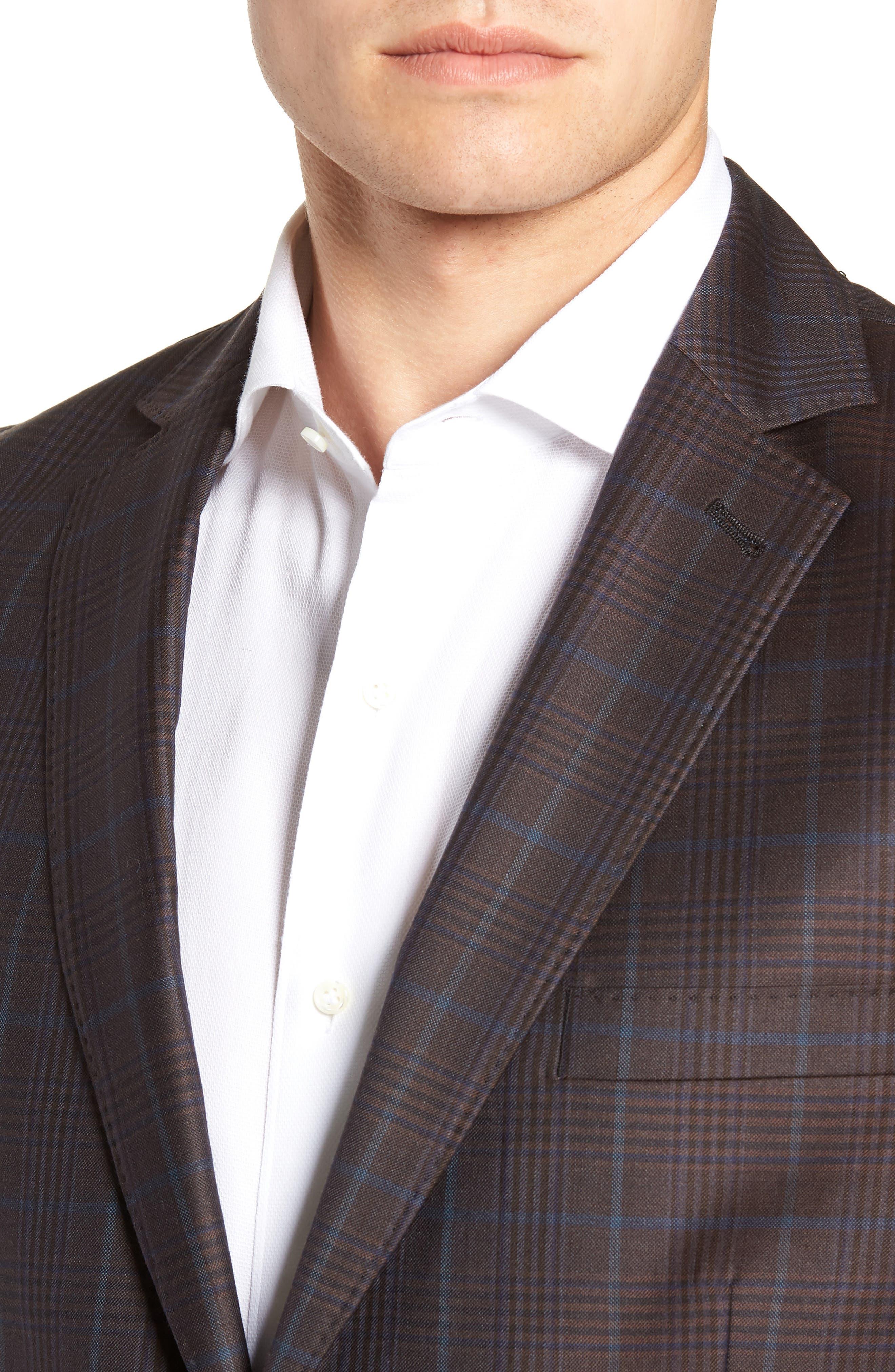 Regular Fit Super 130's Wool Blazer,                             Alternate thumbnail 4, color,                             BROWN