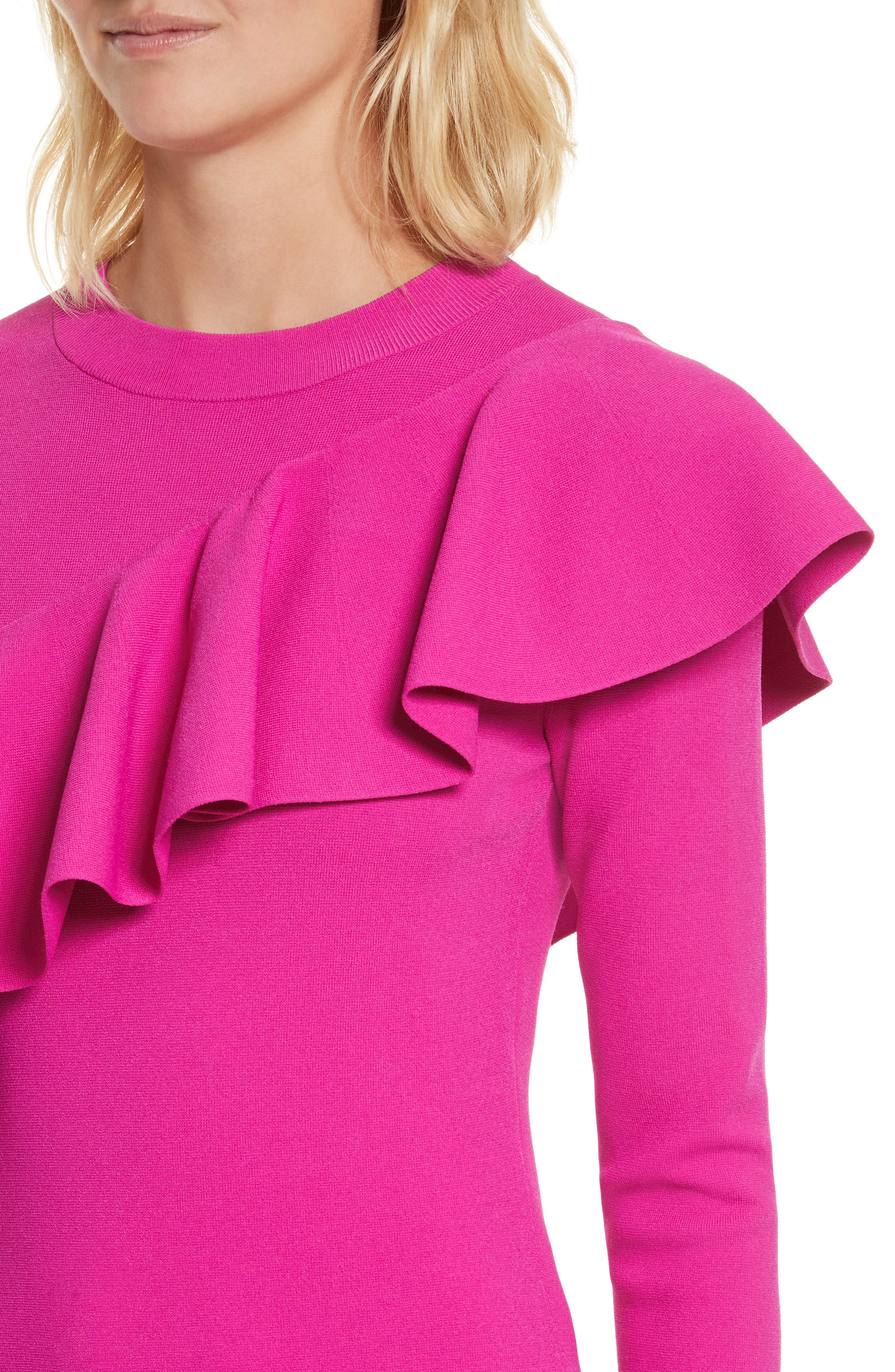 Diane von Furstenberg Ruffle Front Pullover,                             Alternate thumbnail 4, color,                             666