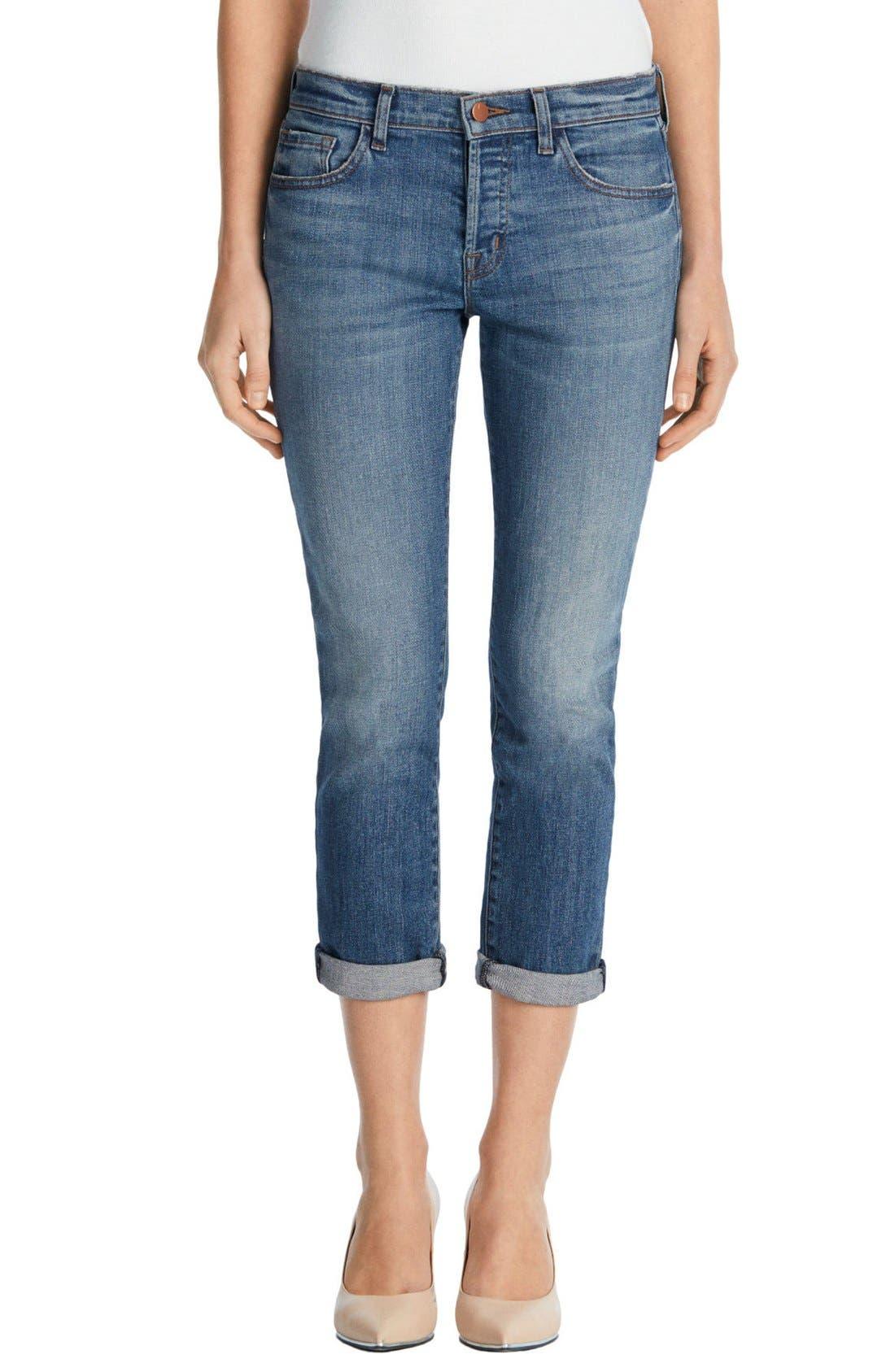 'Sadey' Slim Straight Crop Jeans,                             Alternate thumbnail 4, color,