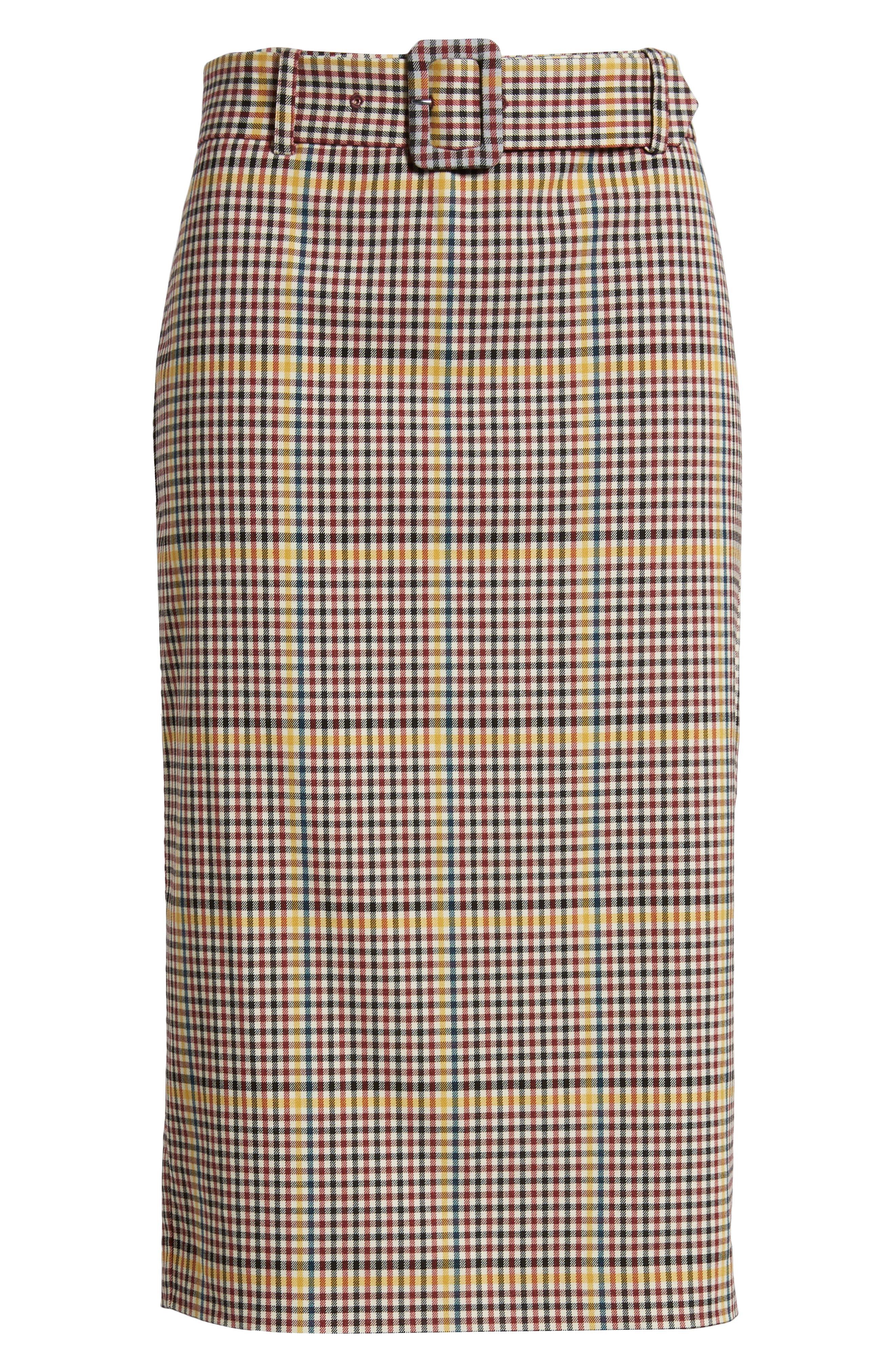Plaid Pencil Skirt,                             Alternate thumbnail 6, color,                             601