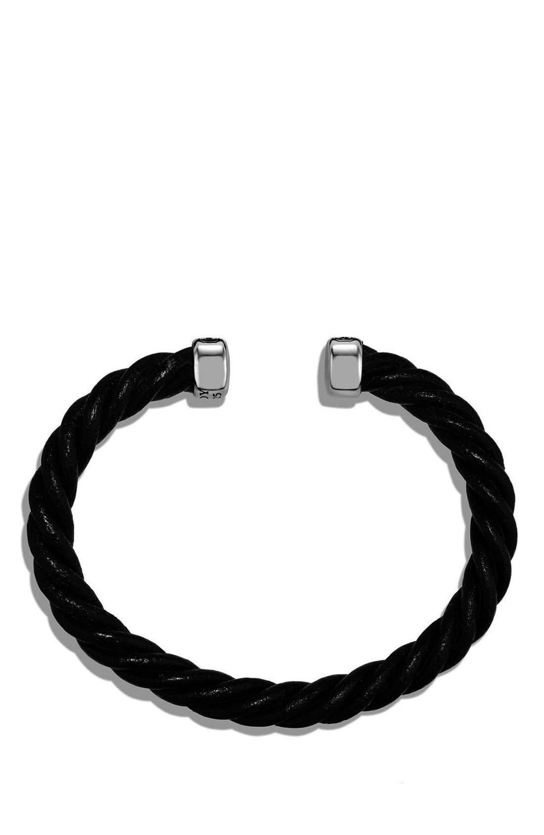Leather Cuff Bracelet,                             Alternate thumbnail 3, color,                             SILVER/ BLACK LEATHER