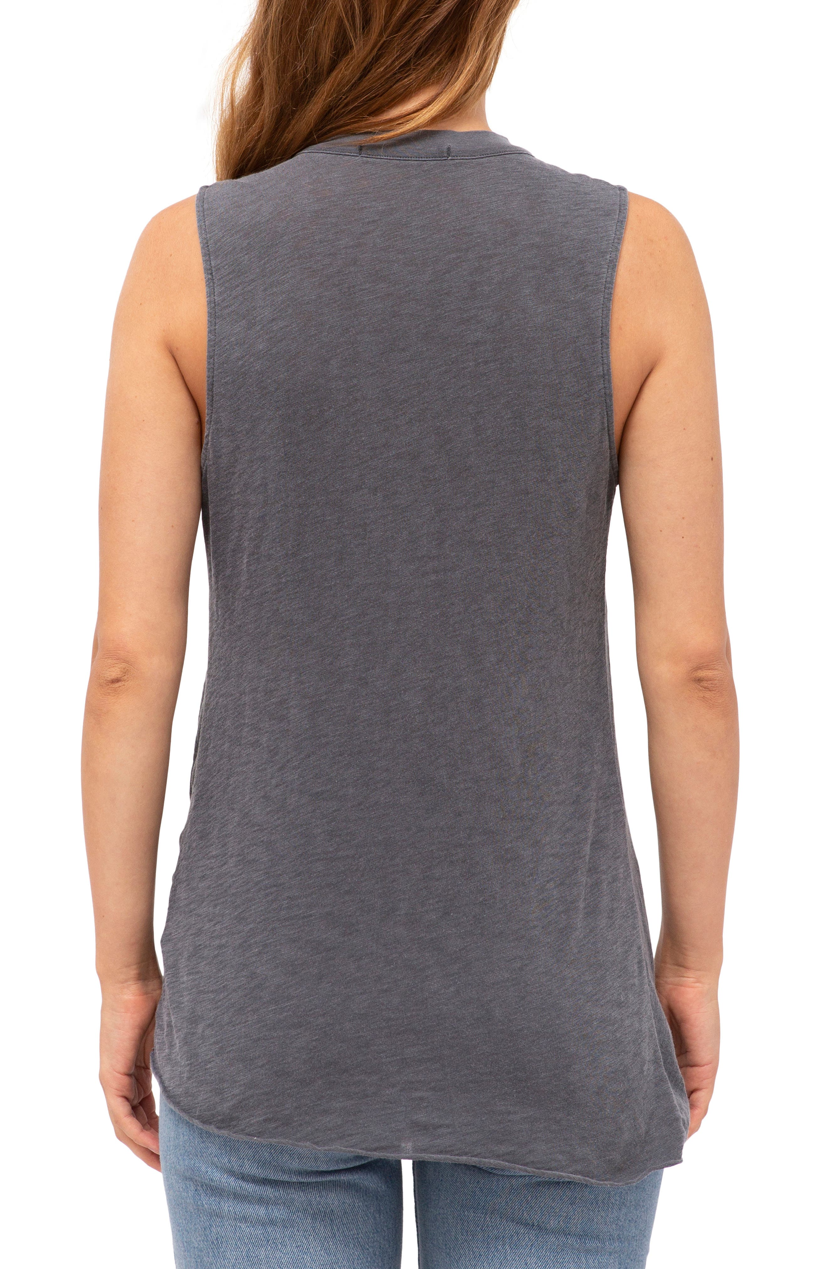 Twist Hem Slub Supima<sup>®</sup> Cotton Tank,                             Alternate thumbnail 2, color,                             CHARCOAL