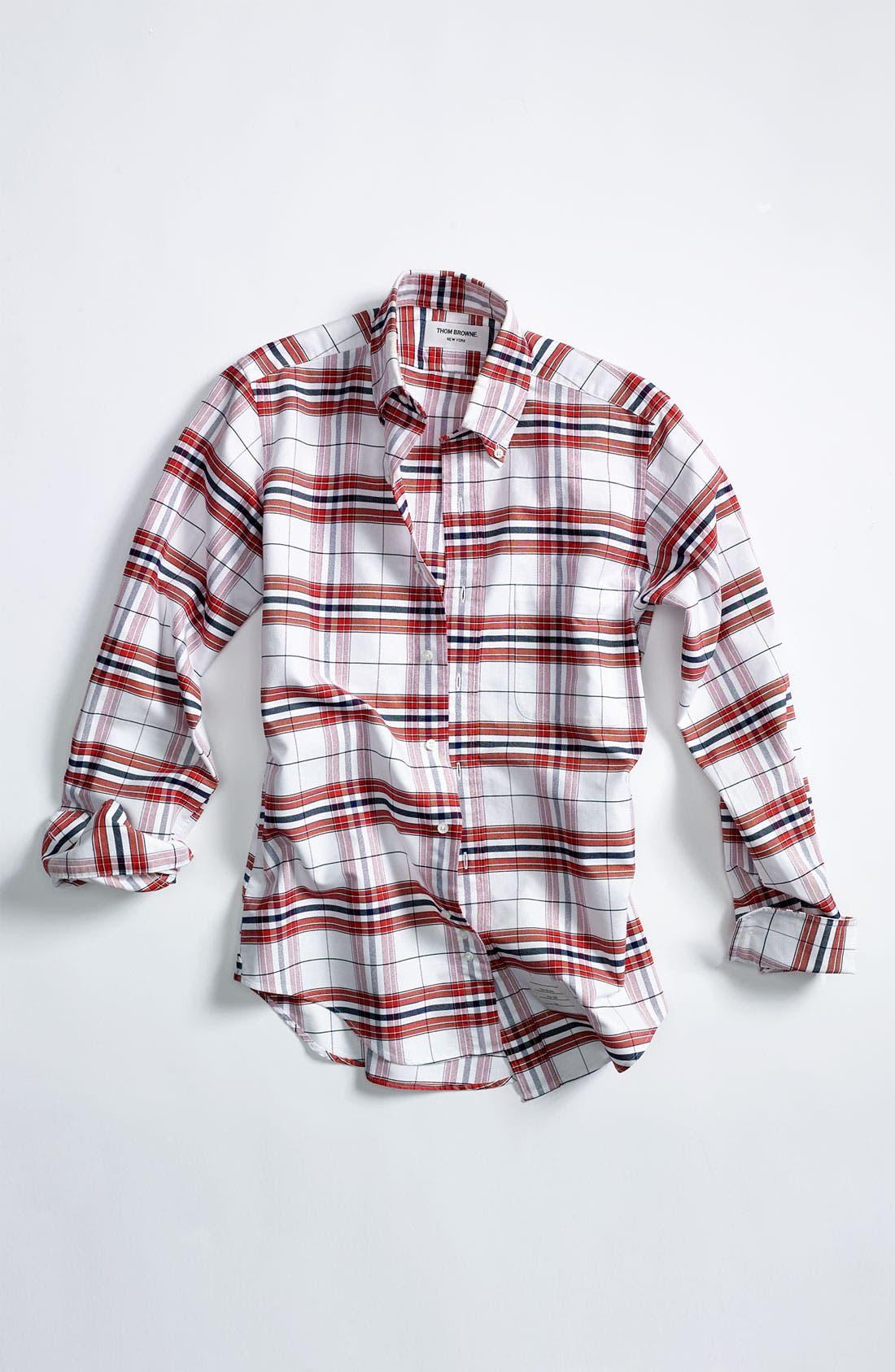 Plaid Oxford Shirt,                             Alternate thumbnail 4, color,                             600