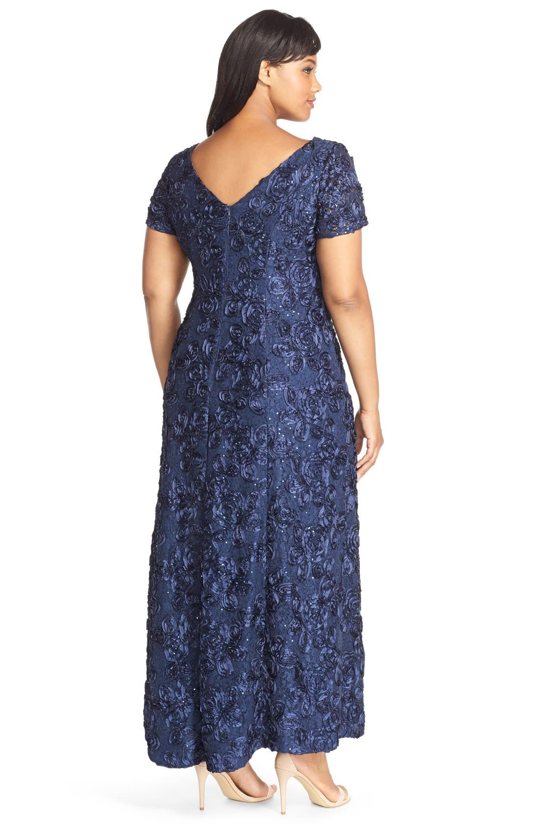 Rosette Lace Short Sleeve A-Line Gown,                             Alternate thumbnail 8, color,                             NAVY