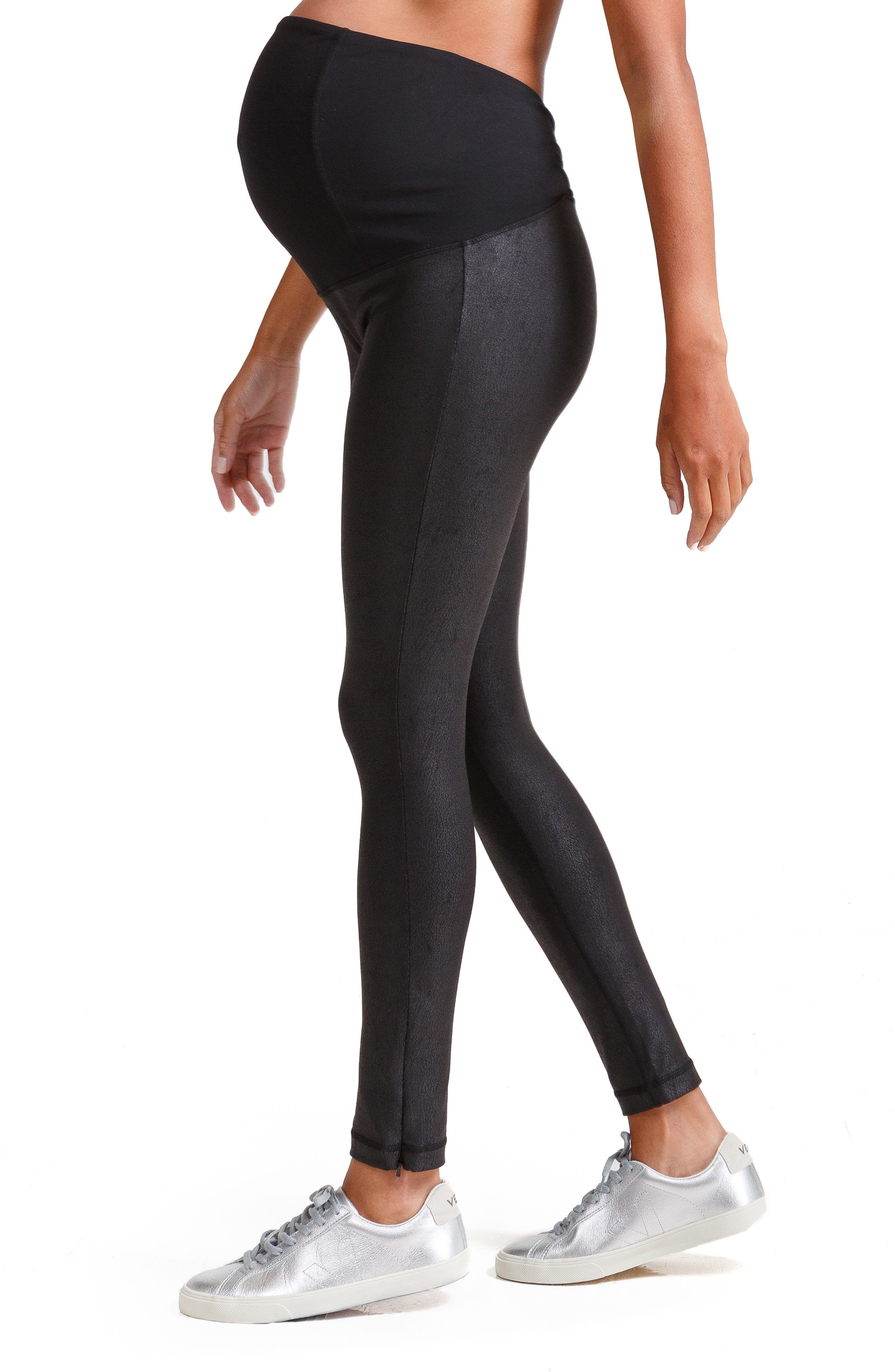 Faux Leather Maternity Leggings,                             Alternate thumbnail 3, color,                             JET BLACK