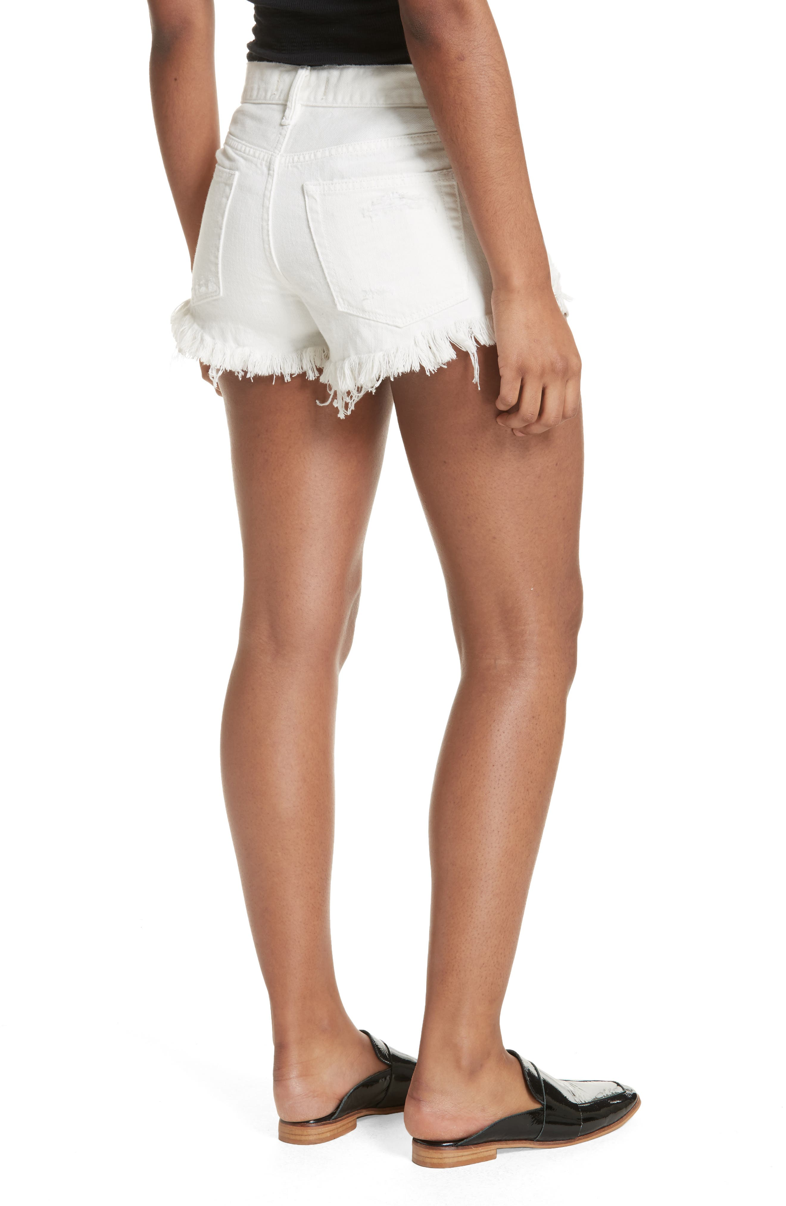 We the Free by Free People Loving Good Vibrations Cutoff Denim Shorts,                             Alternate thumbnail 2, color,                             WHITE