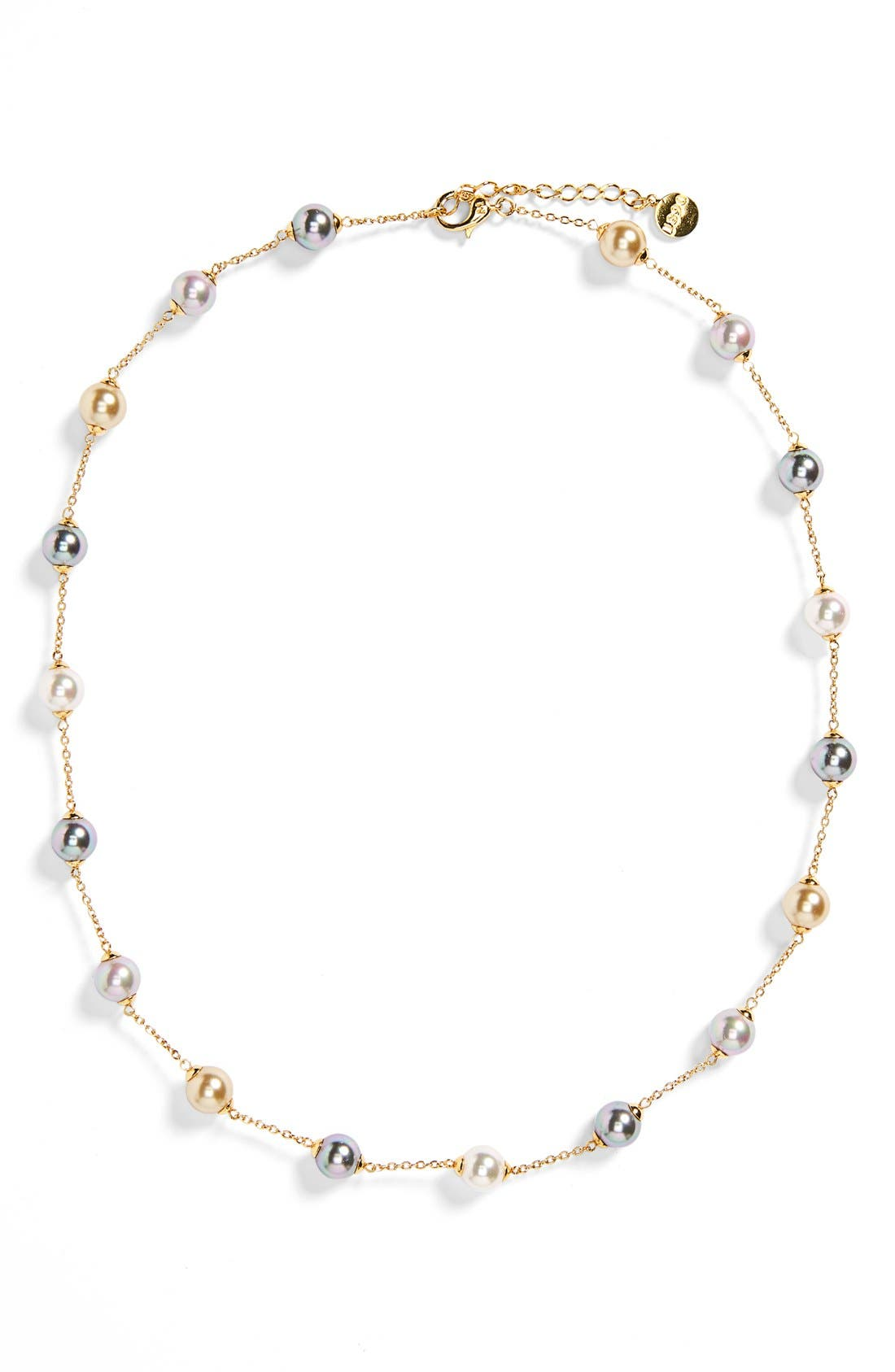 8mm Pearl Station Necklace,                             Main thumbnail 1, color,                             GOLD/ CHAMPAGNE