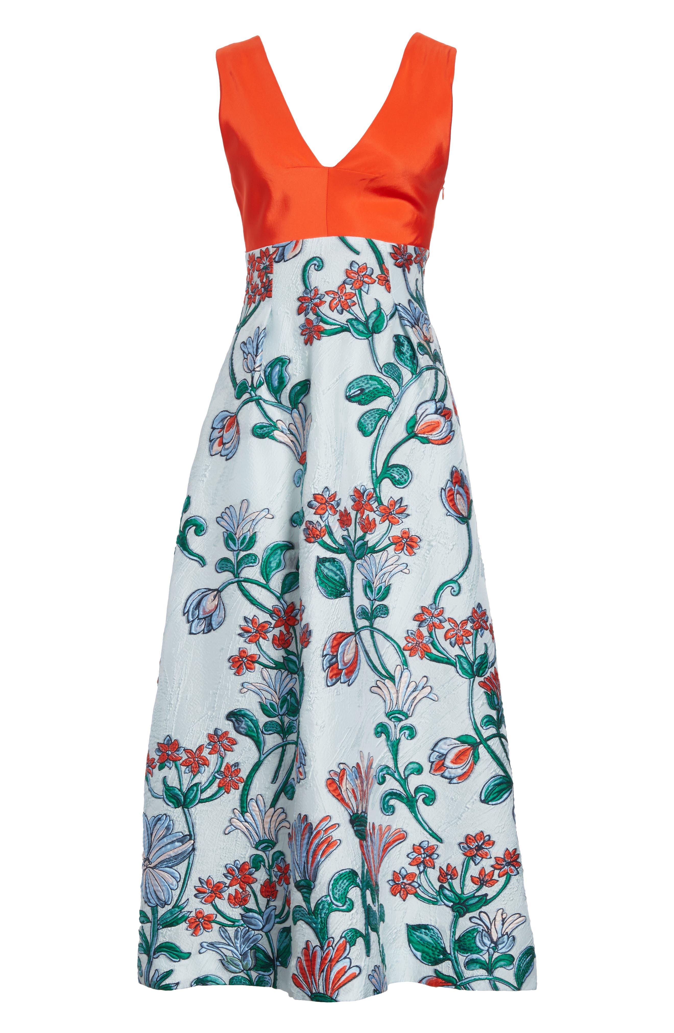 Tie Back Midi Dress,                             Alternate thumbnail 6, color,                             451