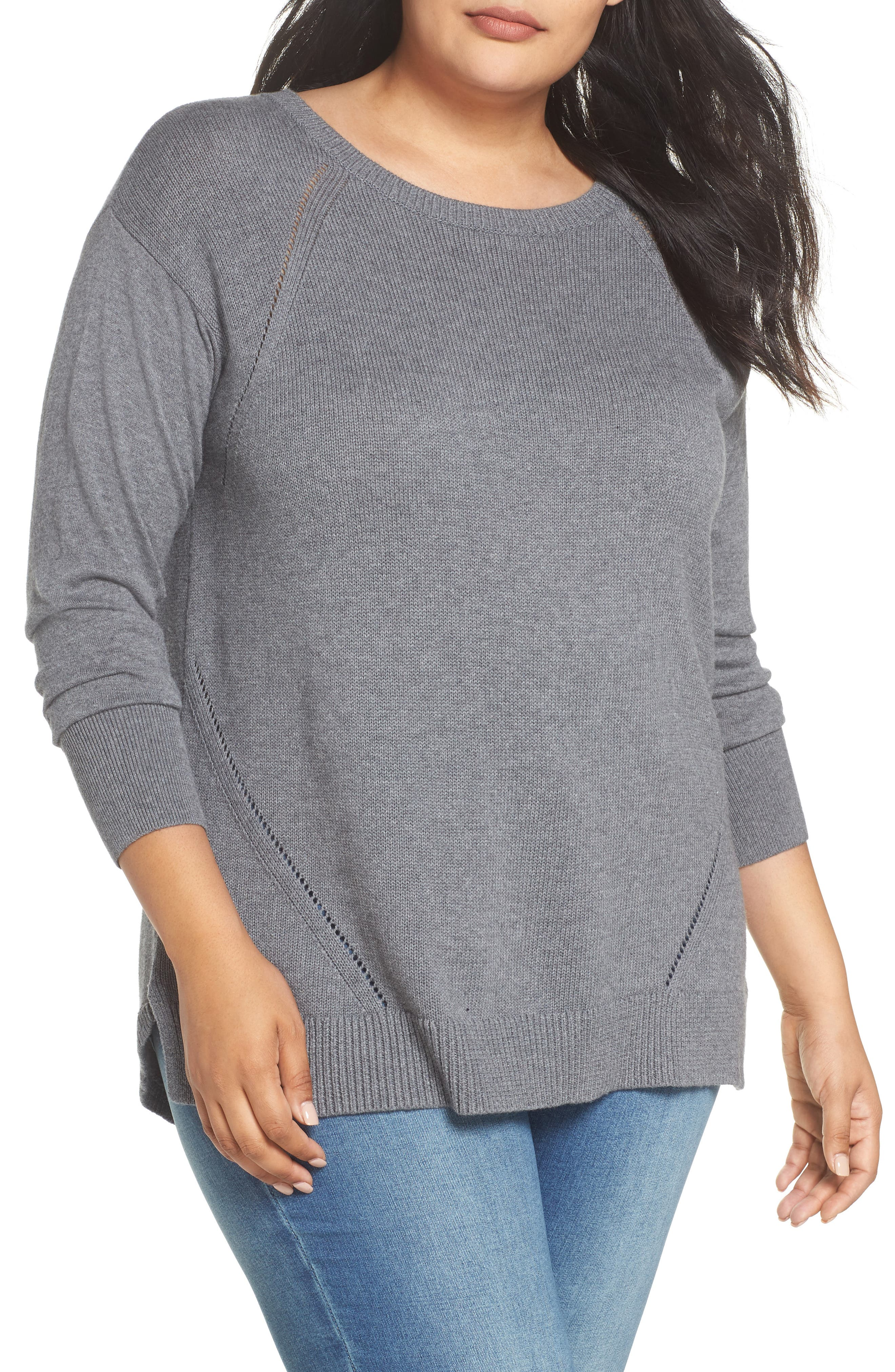 Button Back Tunic Sweater,                             Main thumbnail 1, color,                             GREY DARK HEATHER