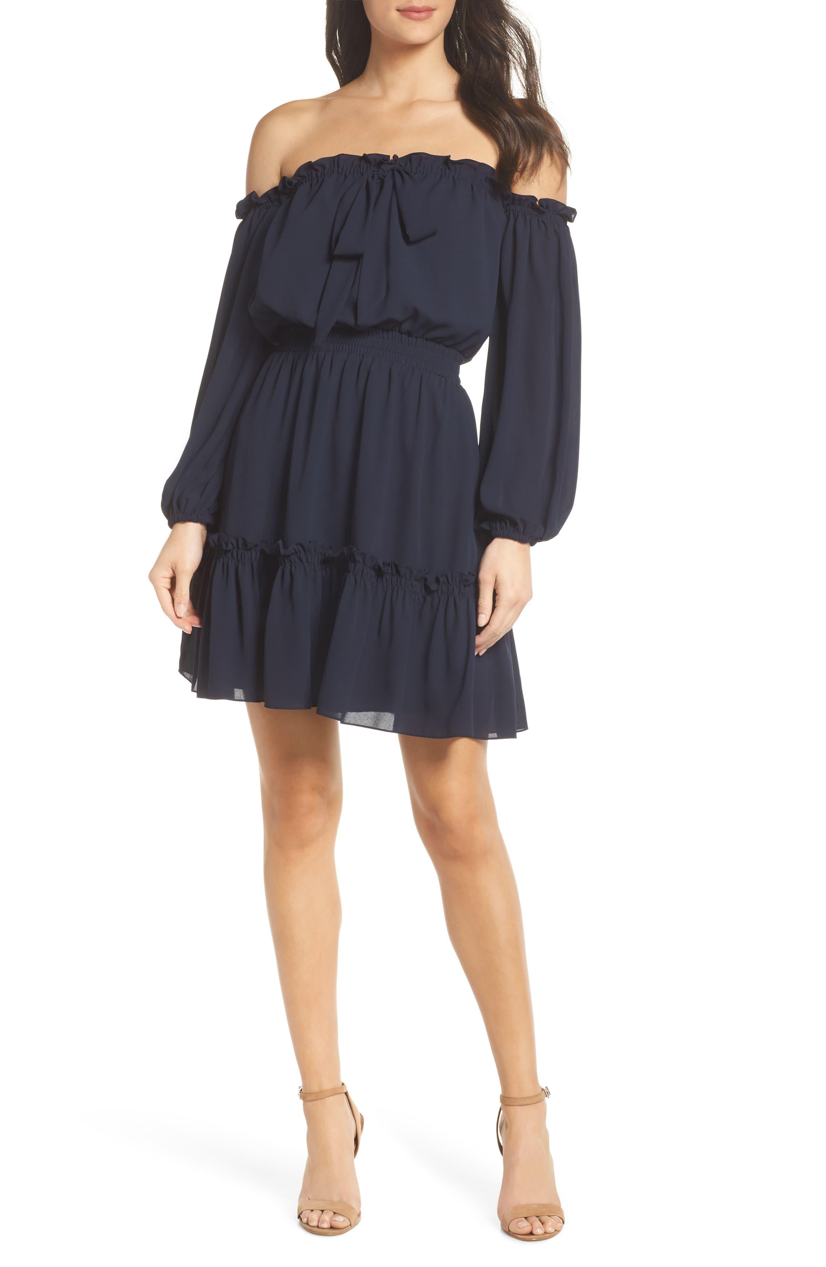 Off the Shoulder Halter Dress,                         Main,                         color, 402