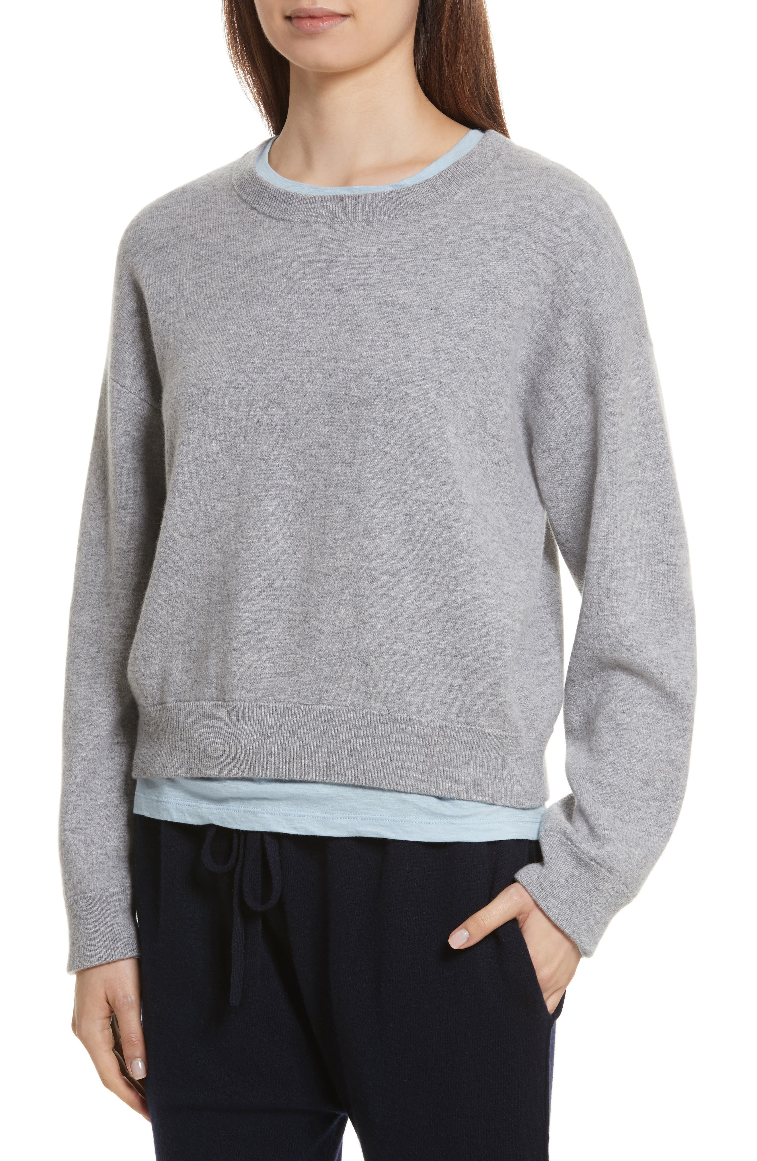 Double Layer Cashmere & Cotton Sweater,                             Alternate thumbnail 4, color,                             081