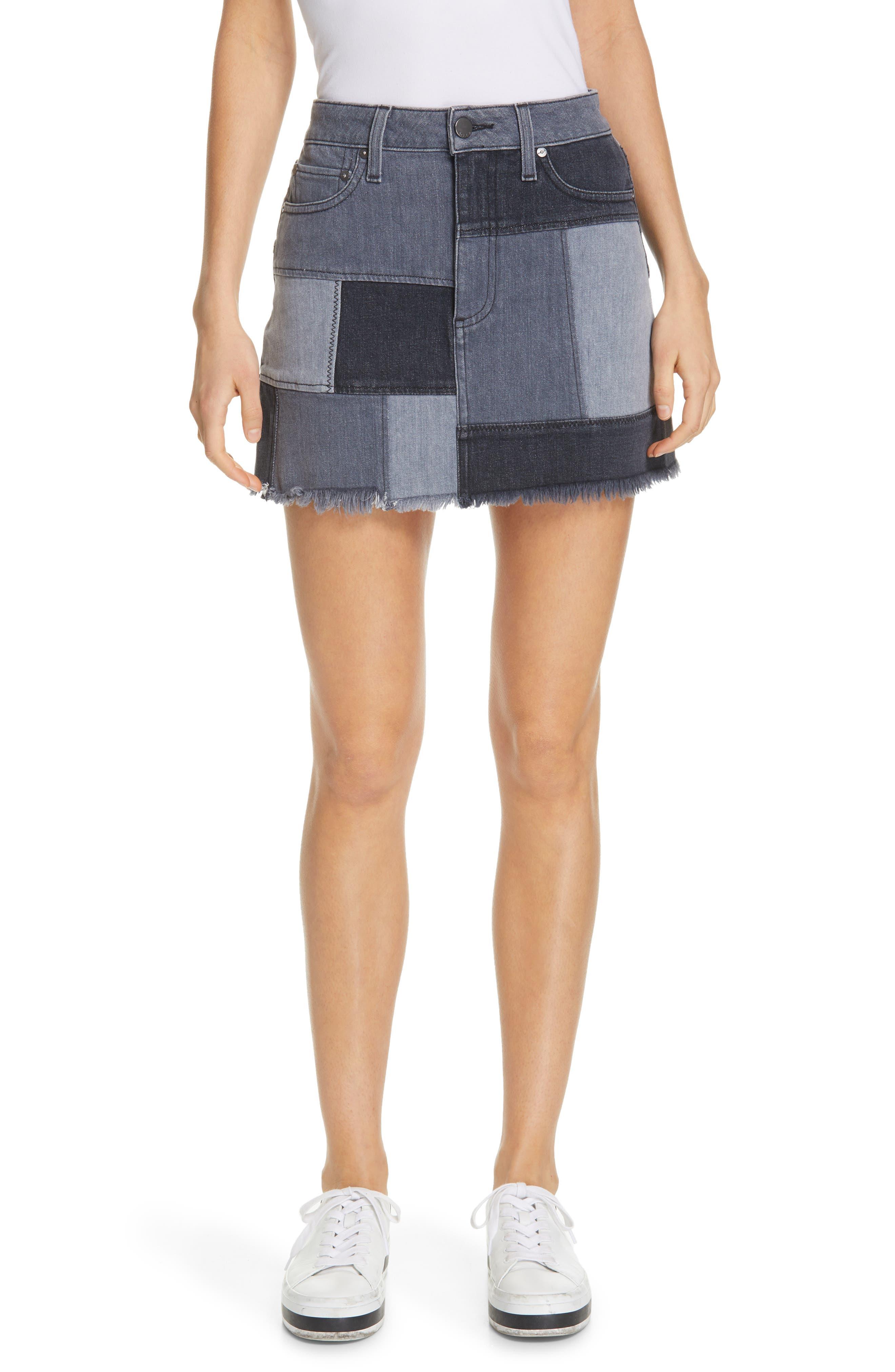 ALICE + OLIVIA JEANS Amazing Patchwork Denim Miniskirt, Main, color, NIGHT SKY