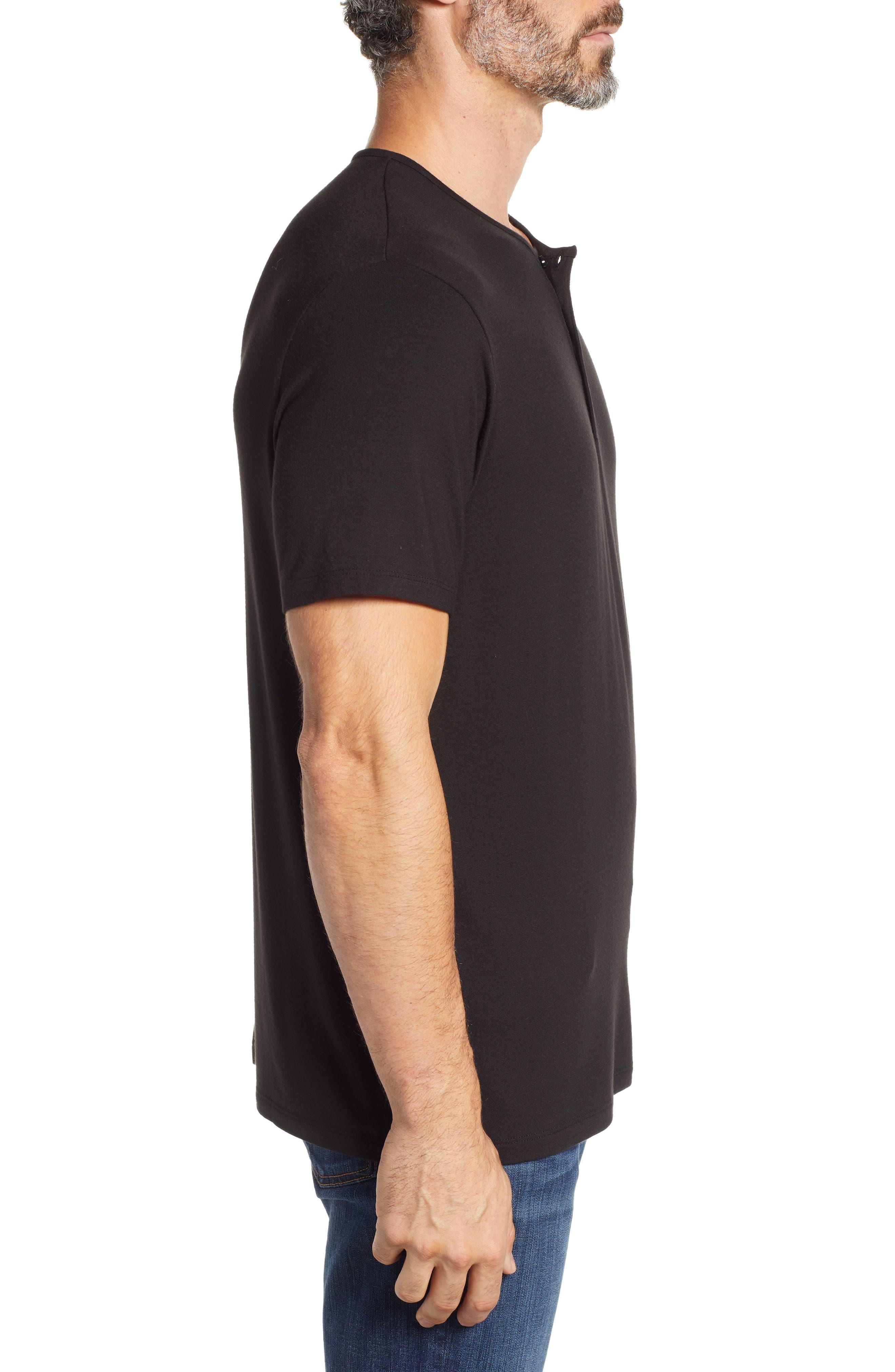 Short Sleeve Stretch Modal Henley,                             Alternate thumbnail 3, color,                             BLACK