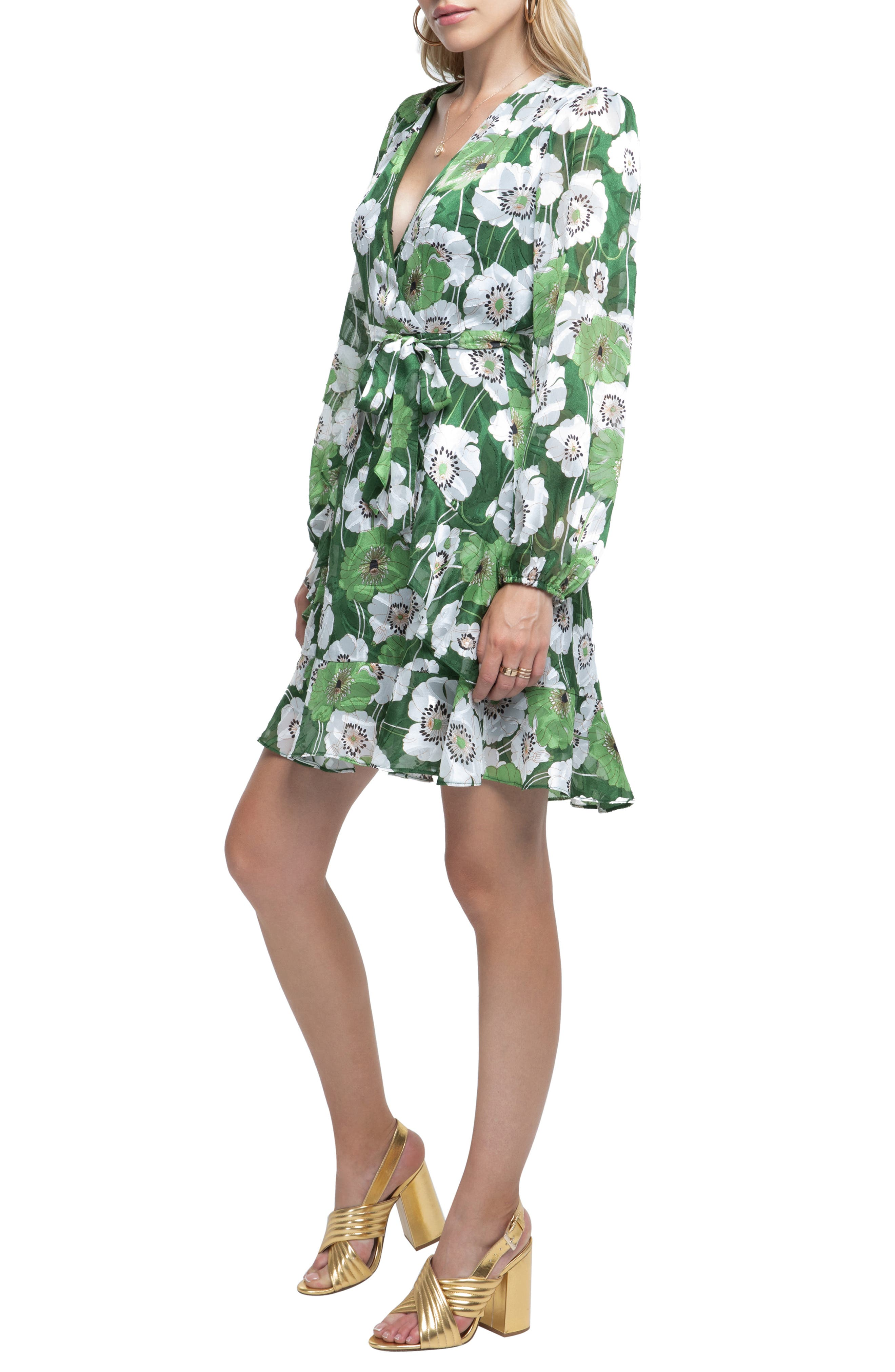 Ruffle Front Dress,                             Alternate thumbnail 3, color,                             GREEN FLORAL