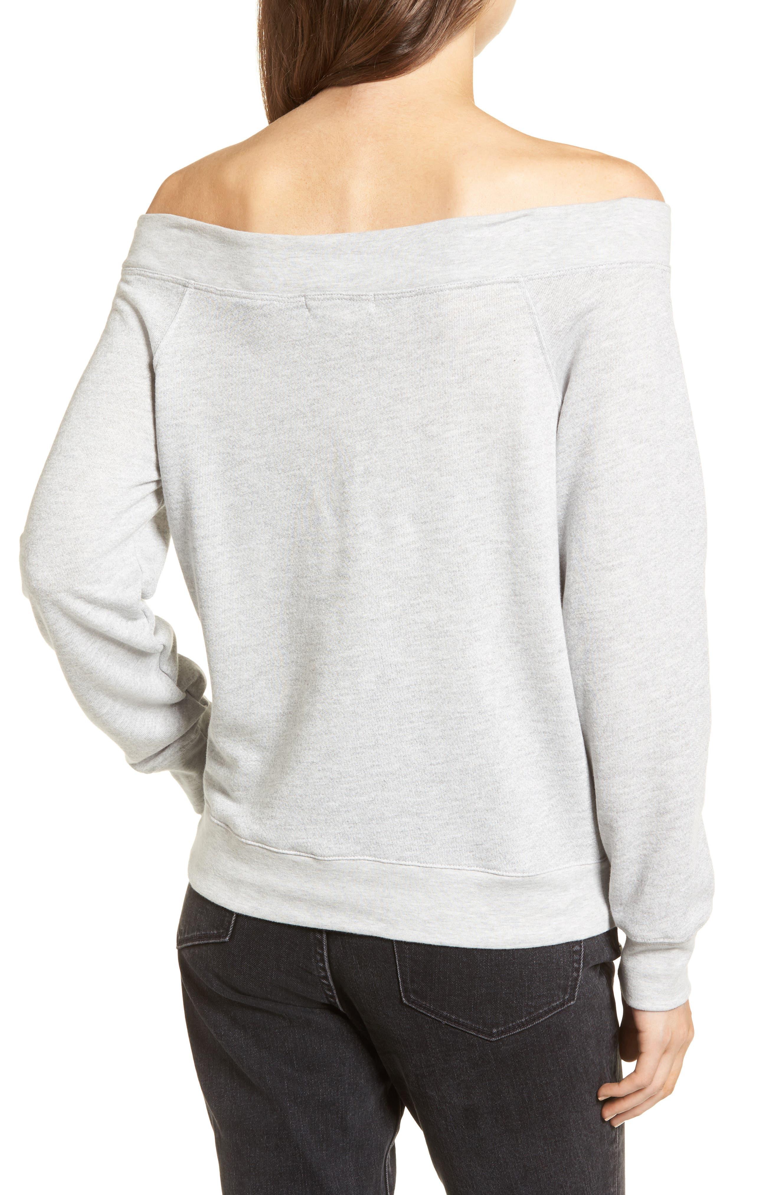 Off the Shoulder Sweatshirt,                             Alternate thumbnail 2, color,                             020