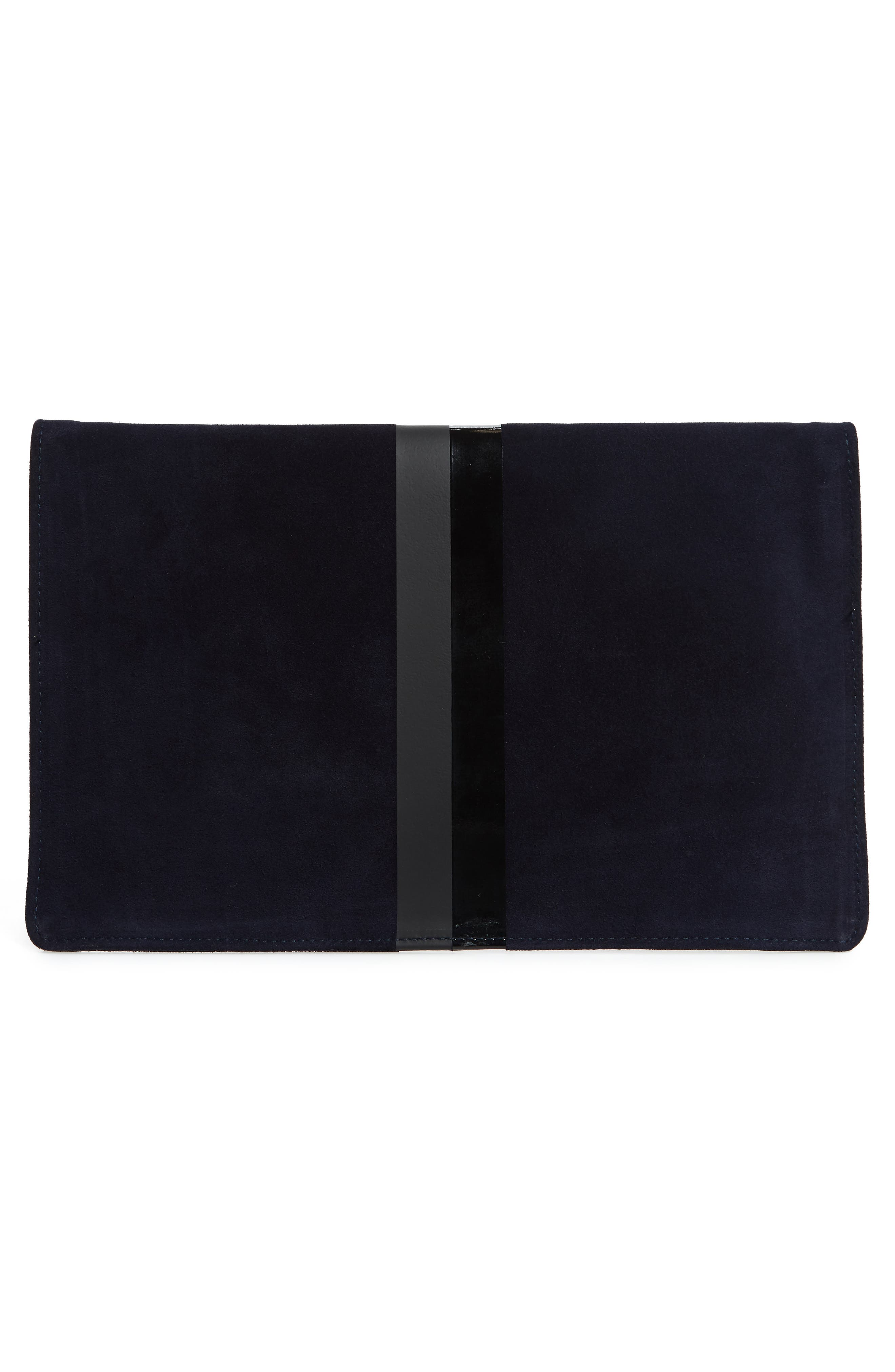 Margot Suede Foldover Clutch,                             Alternate thumbnail 3, color,                             NAVY