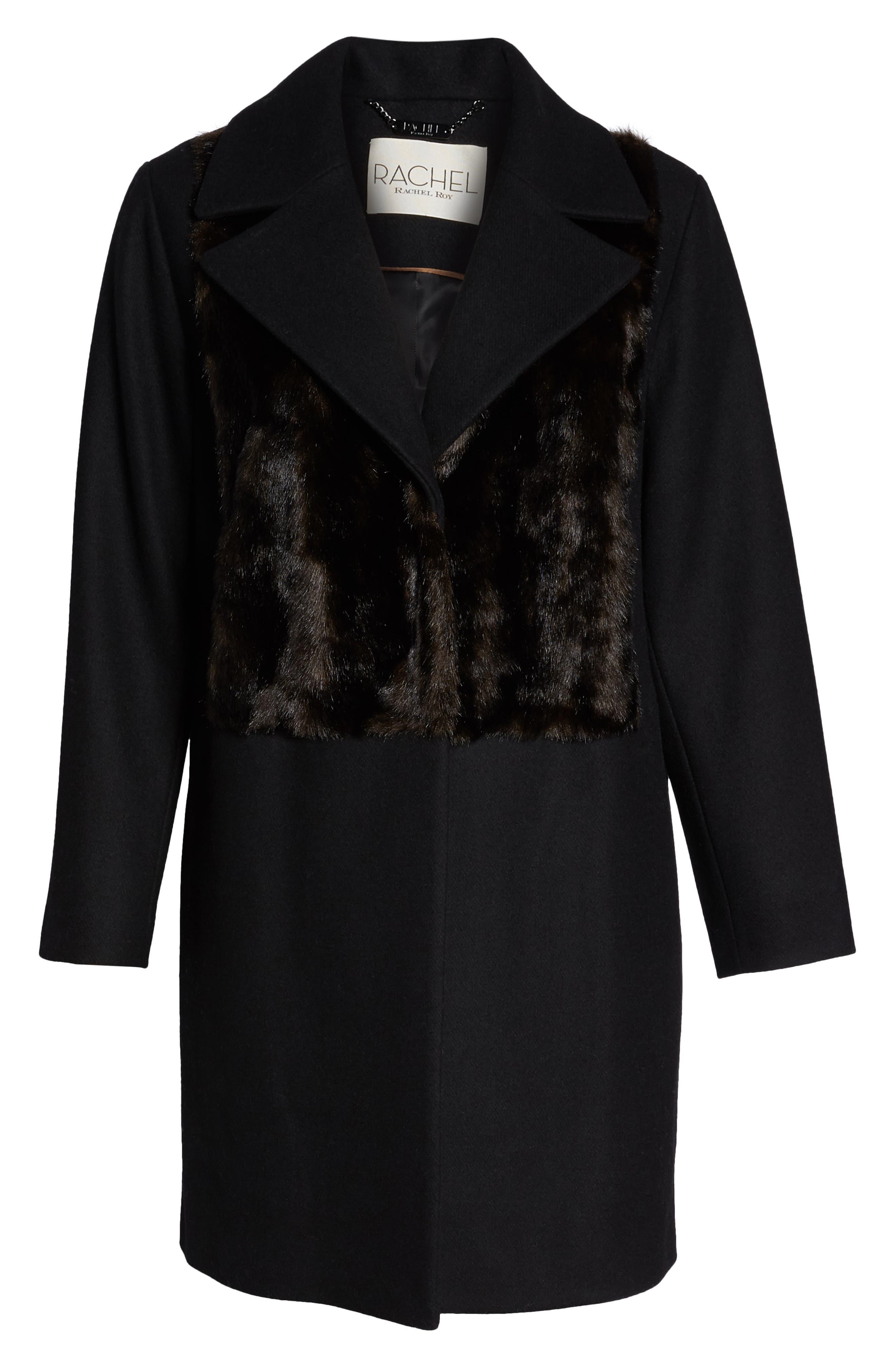 Faux Fur Panel Wool Blend Coat,                             Alternate thumbnail 5, color,                             BLACK