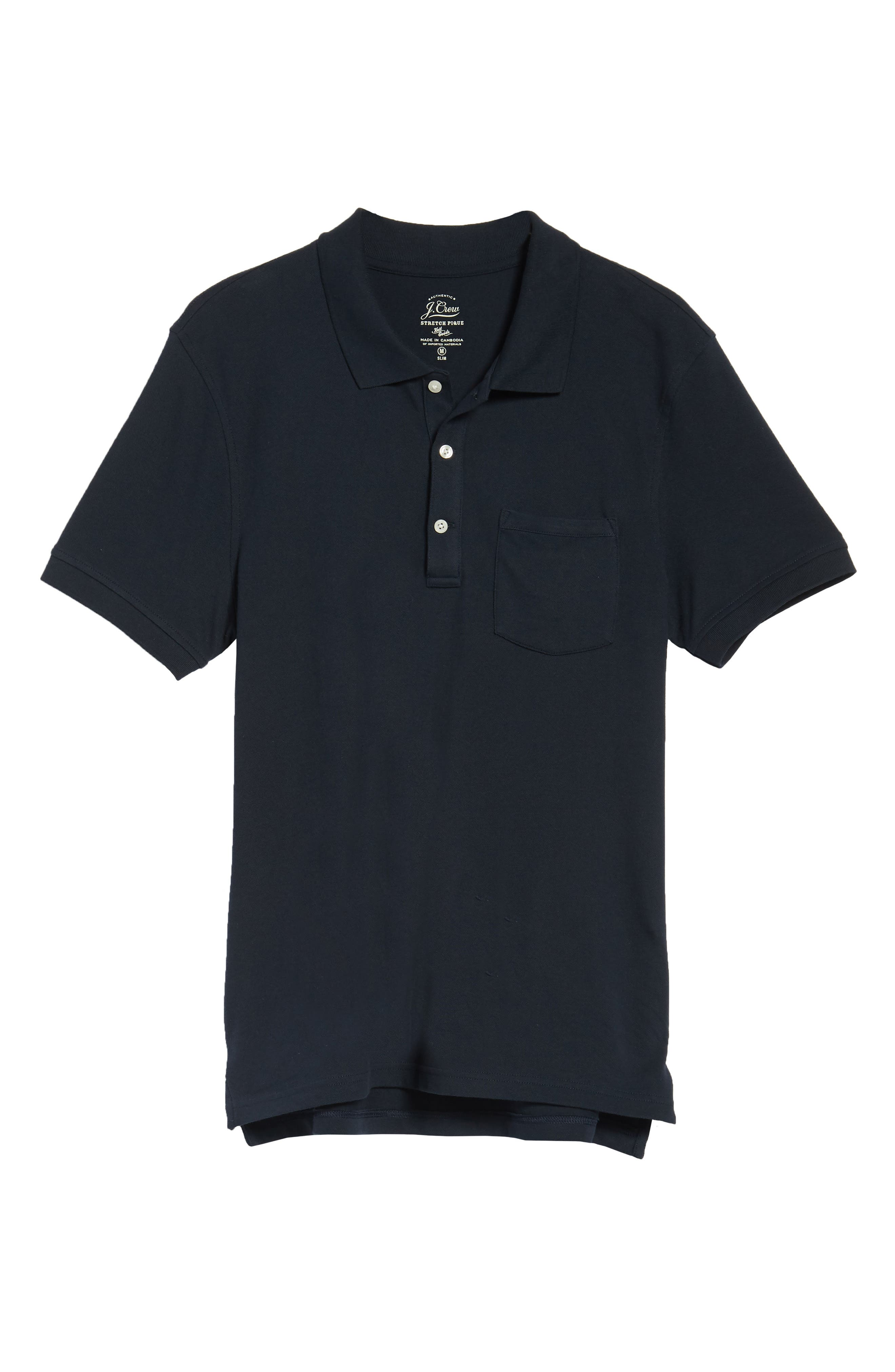 Stretch Cotton Polo Shirt,                             Alternate thumbnail 6, color,                             NAVY