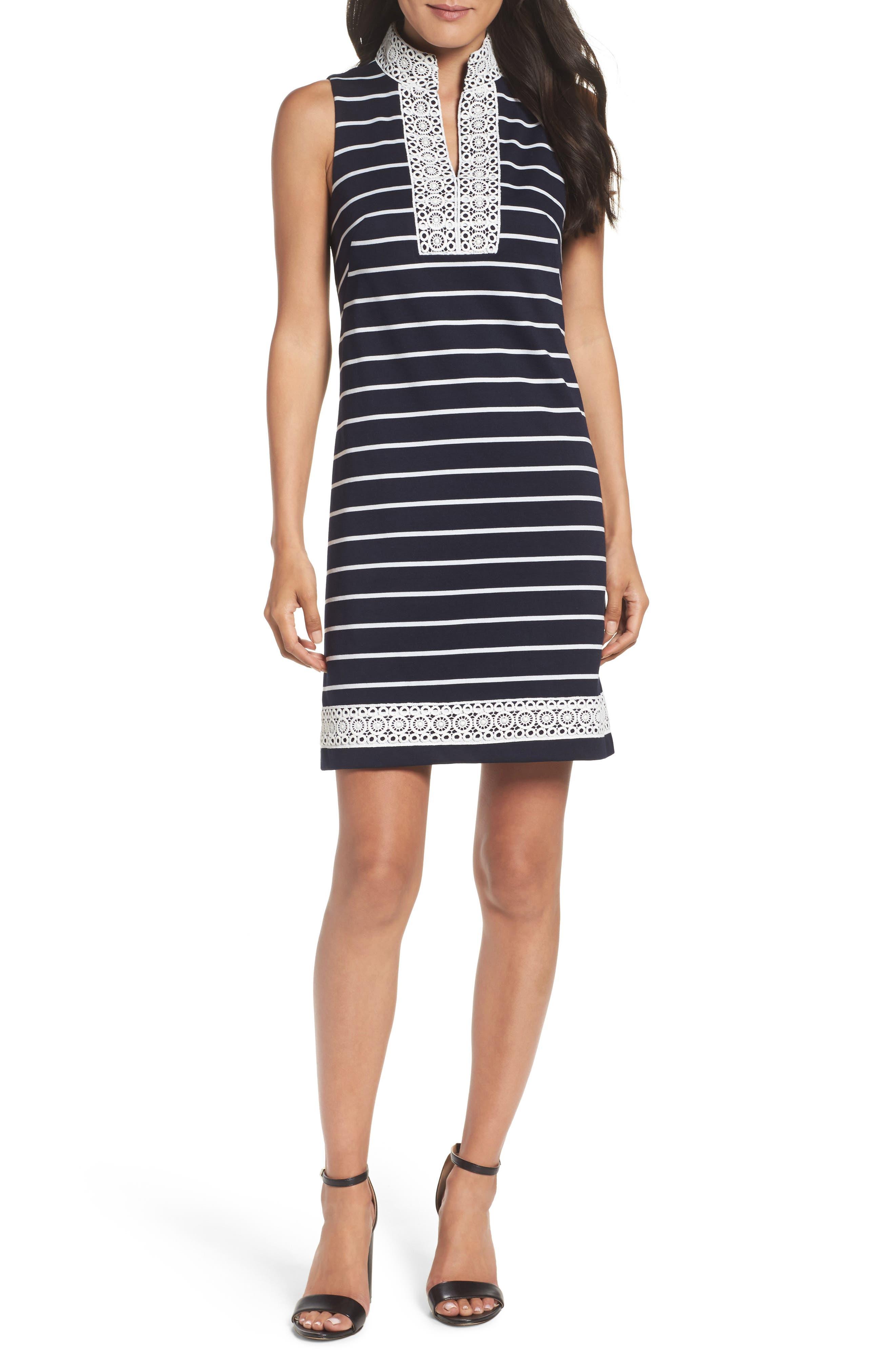 Mandarin Collar Stripe Shift Dress,                             Main thumbnail 1, color,                             407