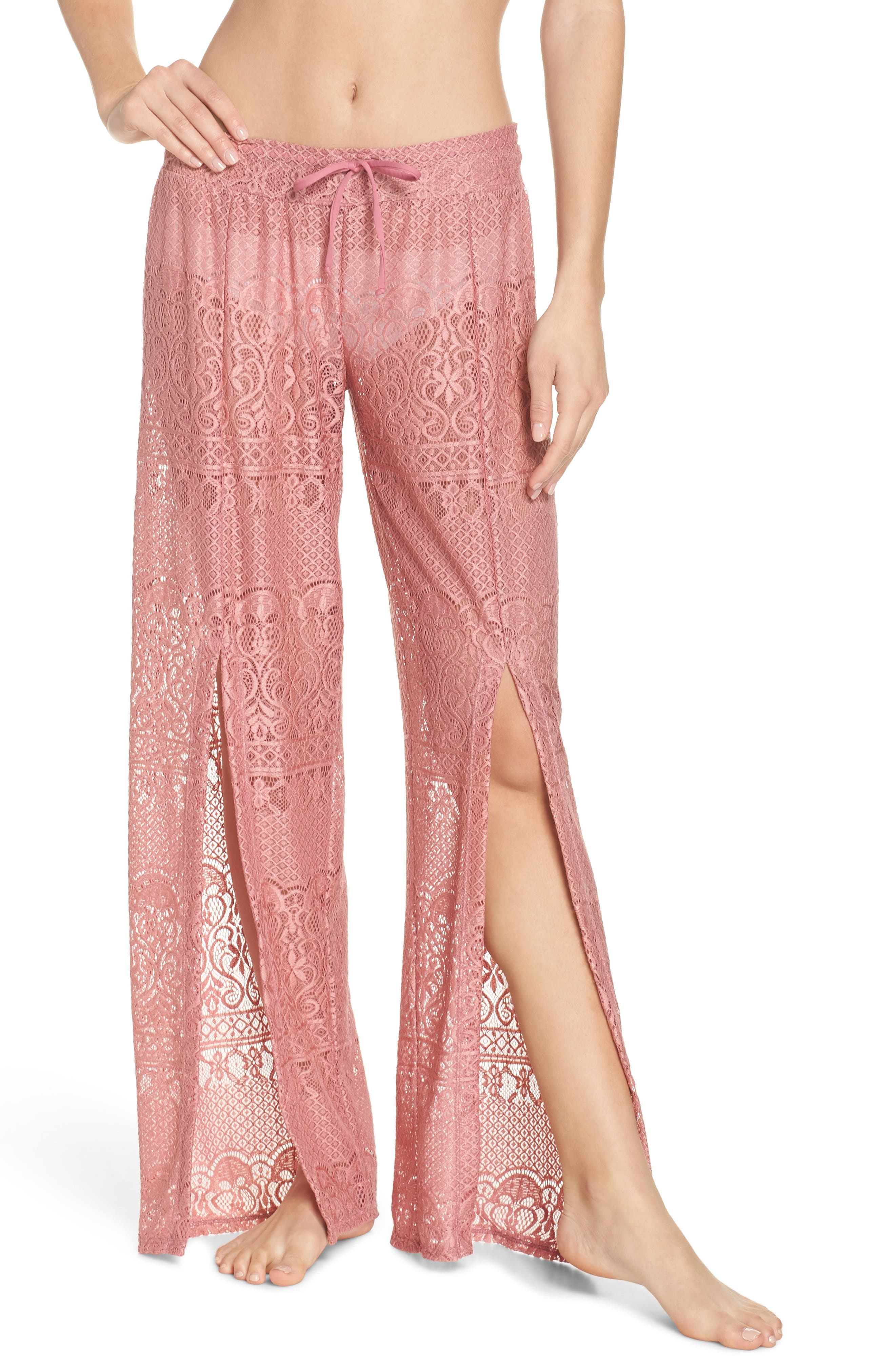 About Lace Cover-Up Pants,                             Main thumbnail 1, color,                             DUSTY ROSE