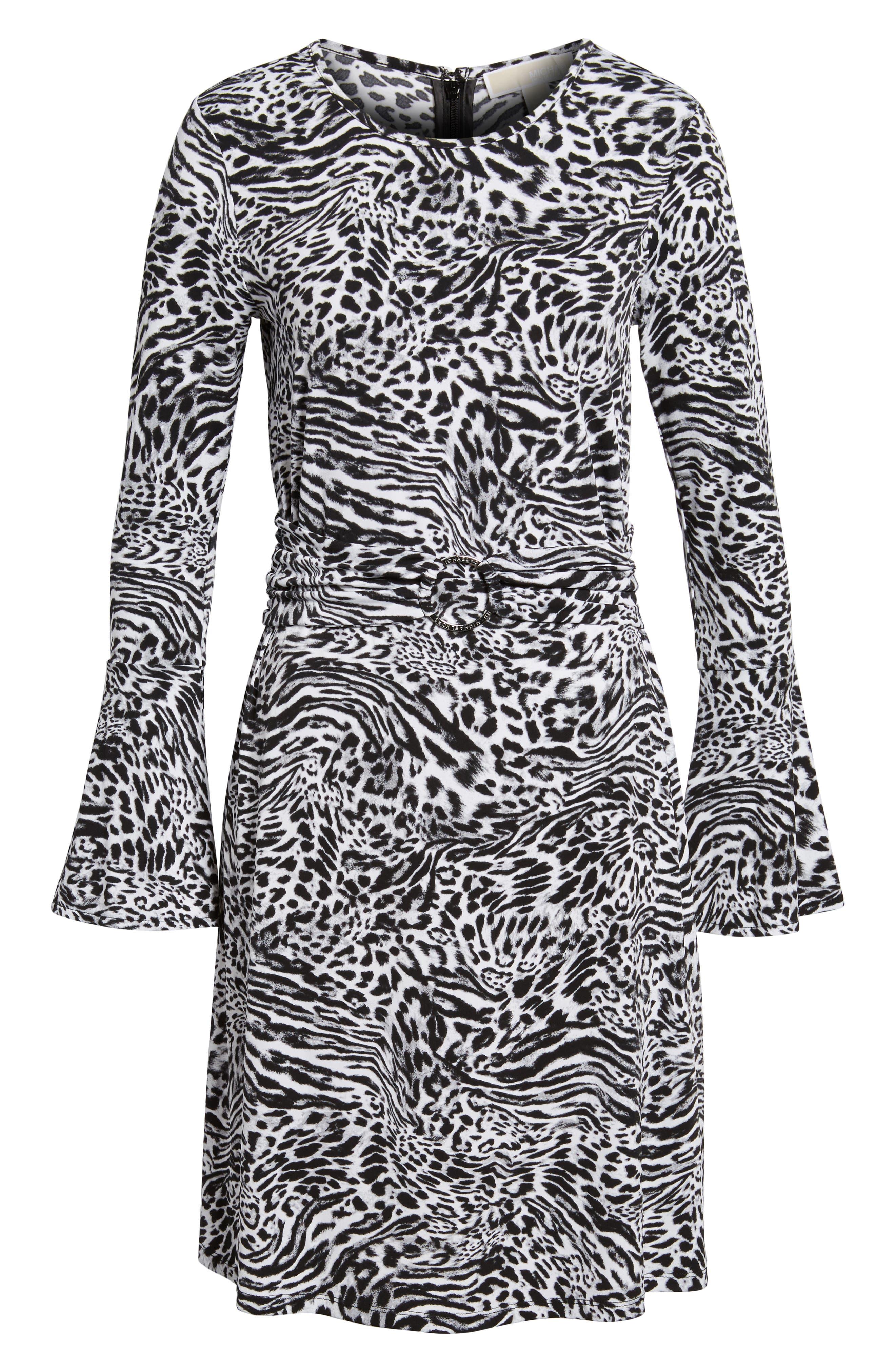 Big Cat A-Line Dress,                             Alternate thumbnail 6, color,                             001