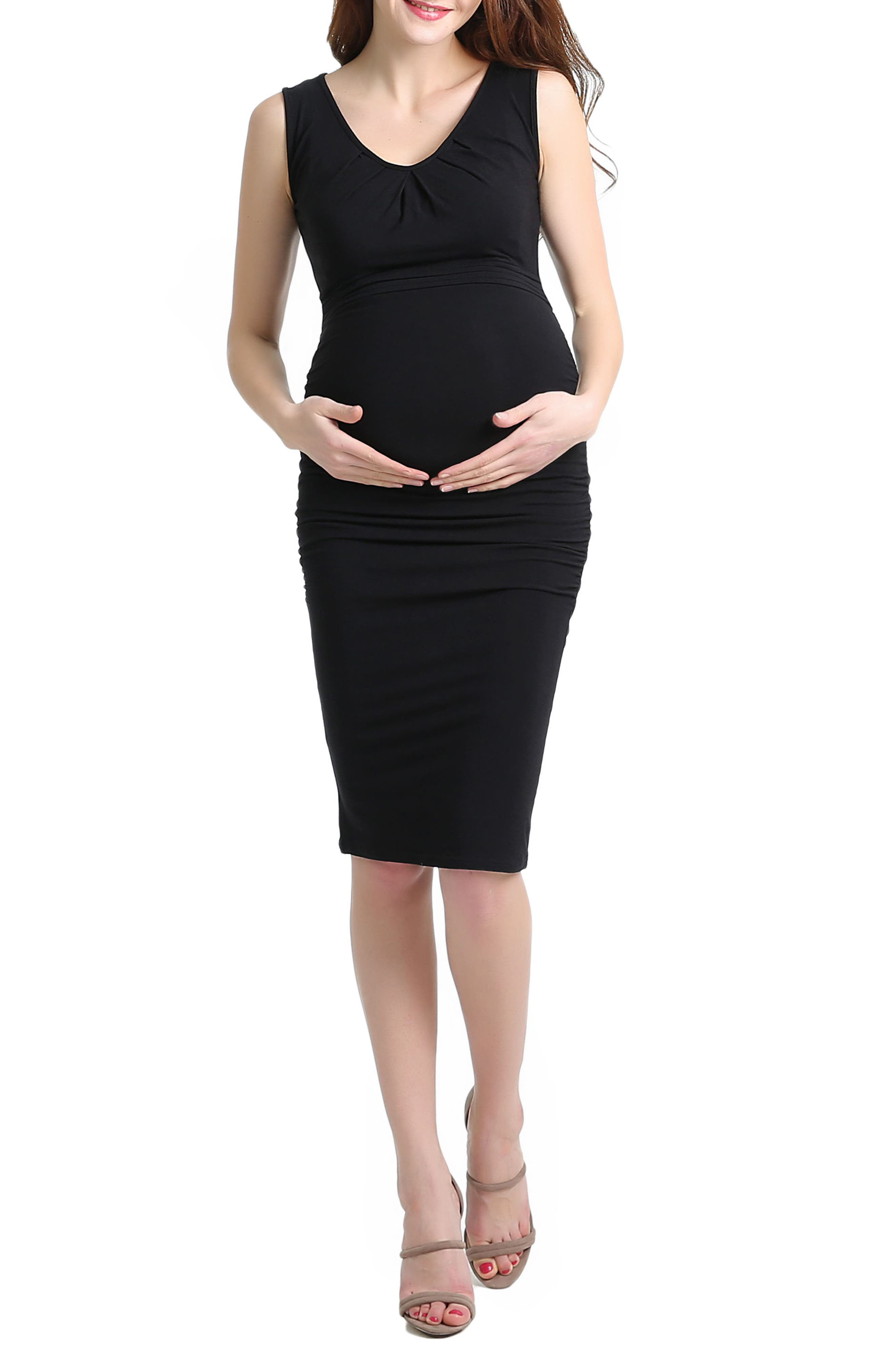 Niki Ruched Maternity Dress,                         Main,                         color, BLACK