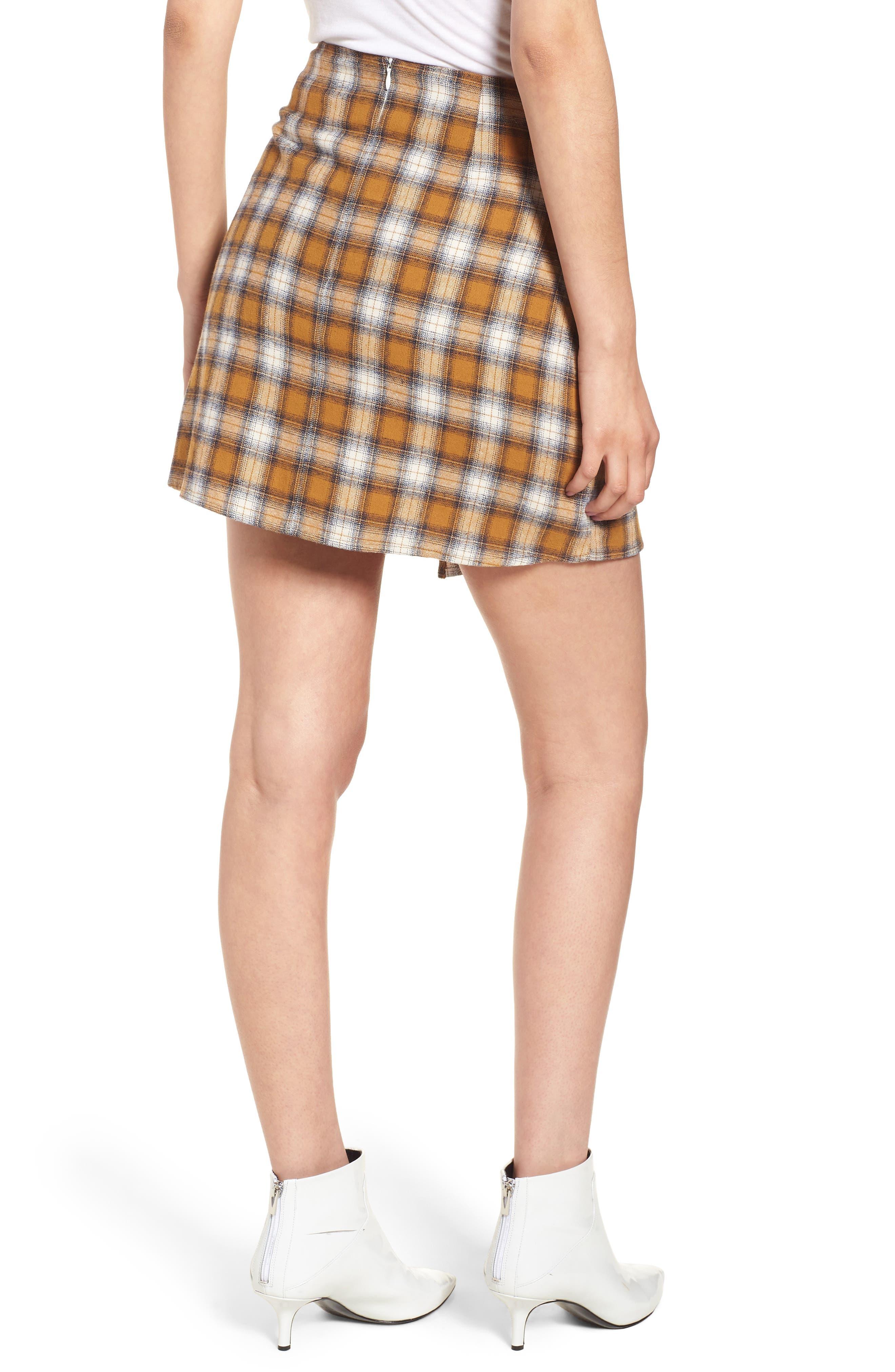Plaid Wrap Panel Skirt,                             Alternate thumbnail 2, color,                             700