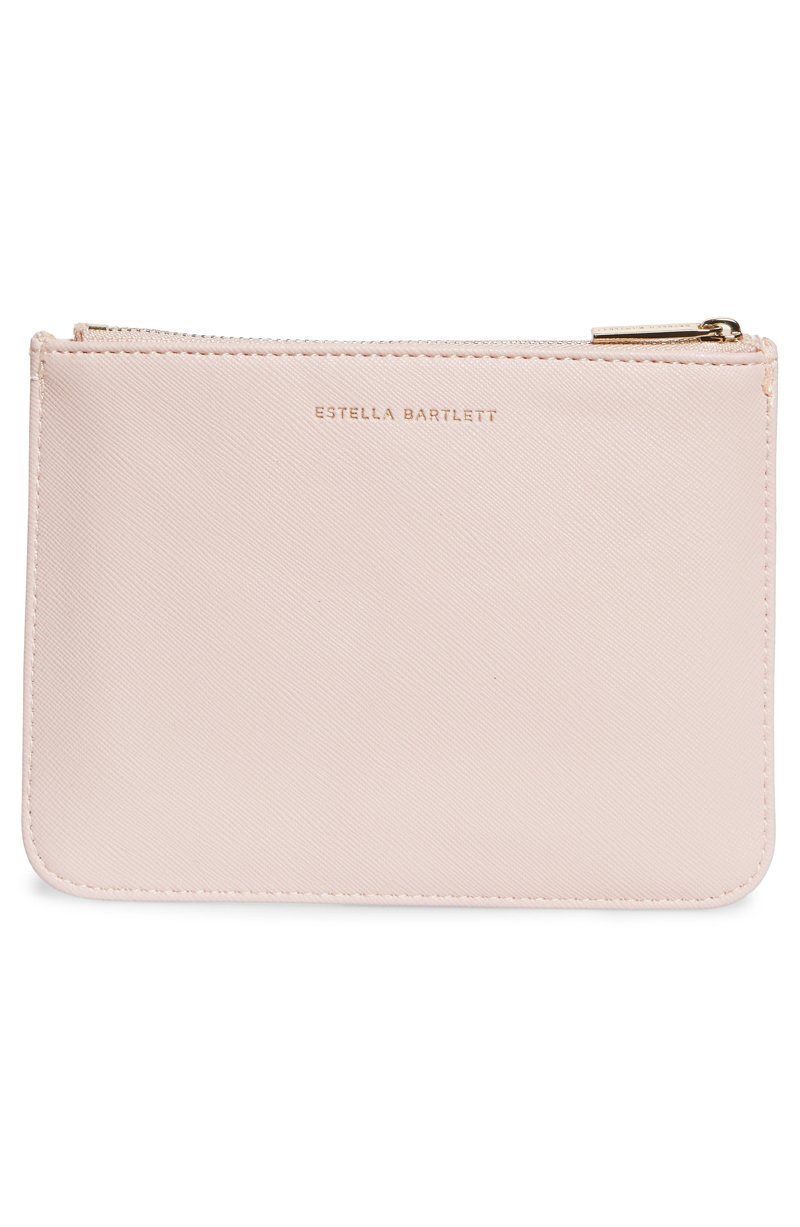Small Faux Leather Zip Pouch,                             Alternate thumbnail 3, color,                             BLUSH - WOMAN ON A MISSION