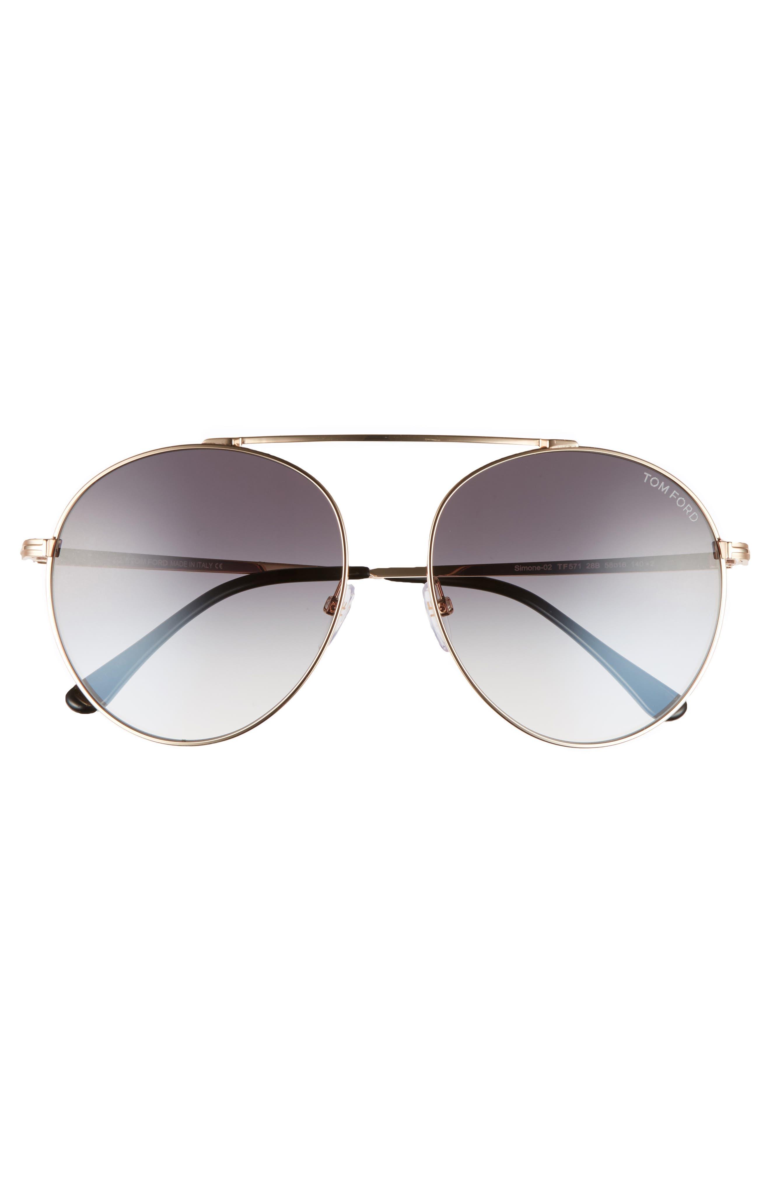 Simone 58mm Gradient Mirrored Round Sunglasses,                             Alternate thumbnail 3, color,                             710