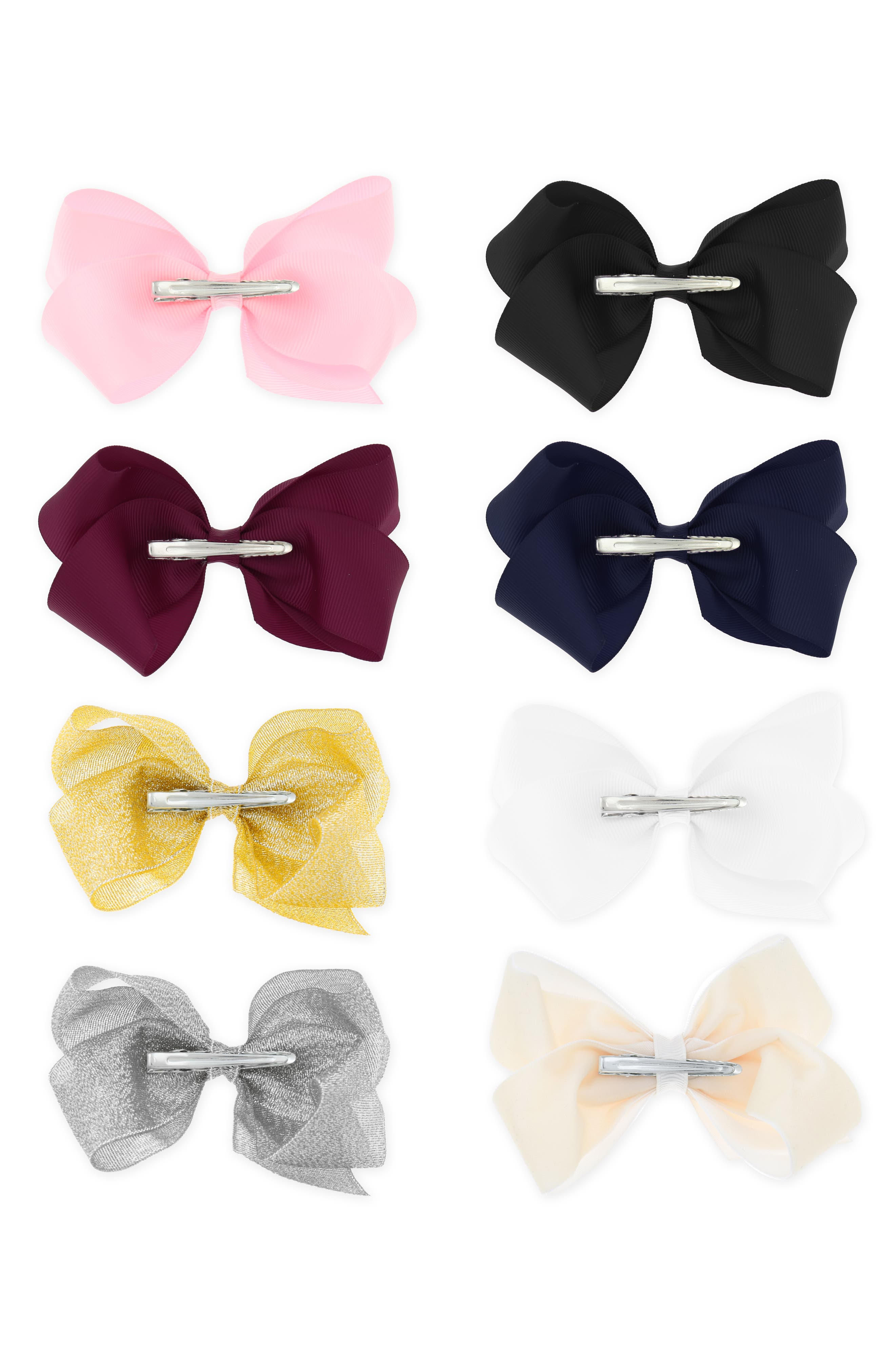 8-Pack Bow Hair Clip Set,                             Alternate thumbnail 2, color,                             650