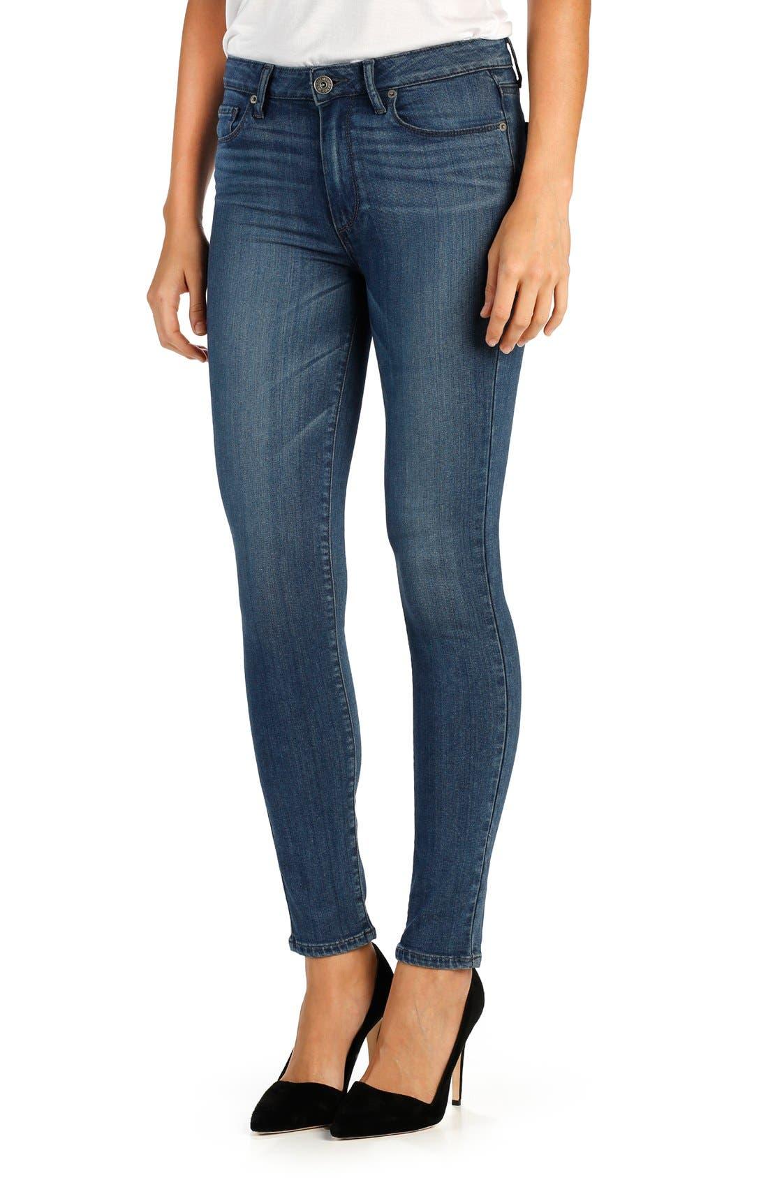 'Transcend - Hoxton' High Rise Ankle Peg Skinny Jeans,                             Main thumbnail 1, color,                             400