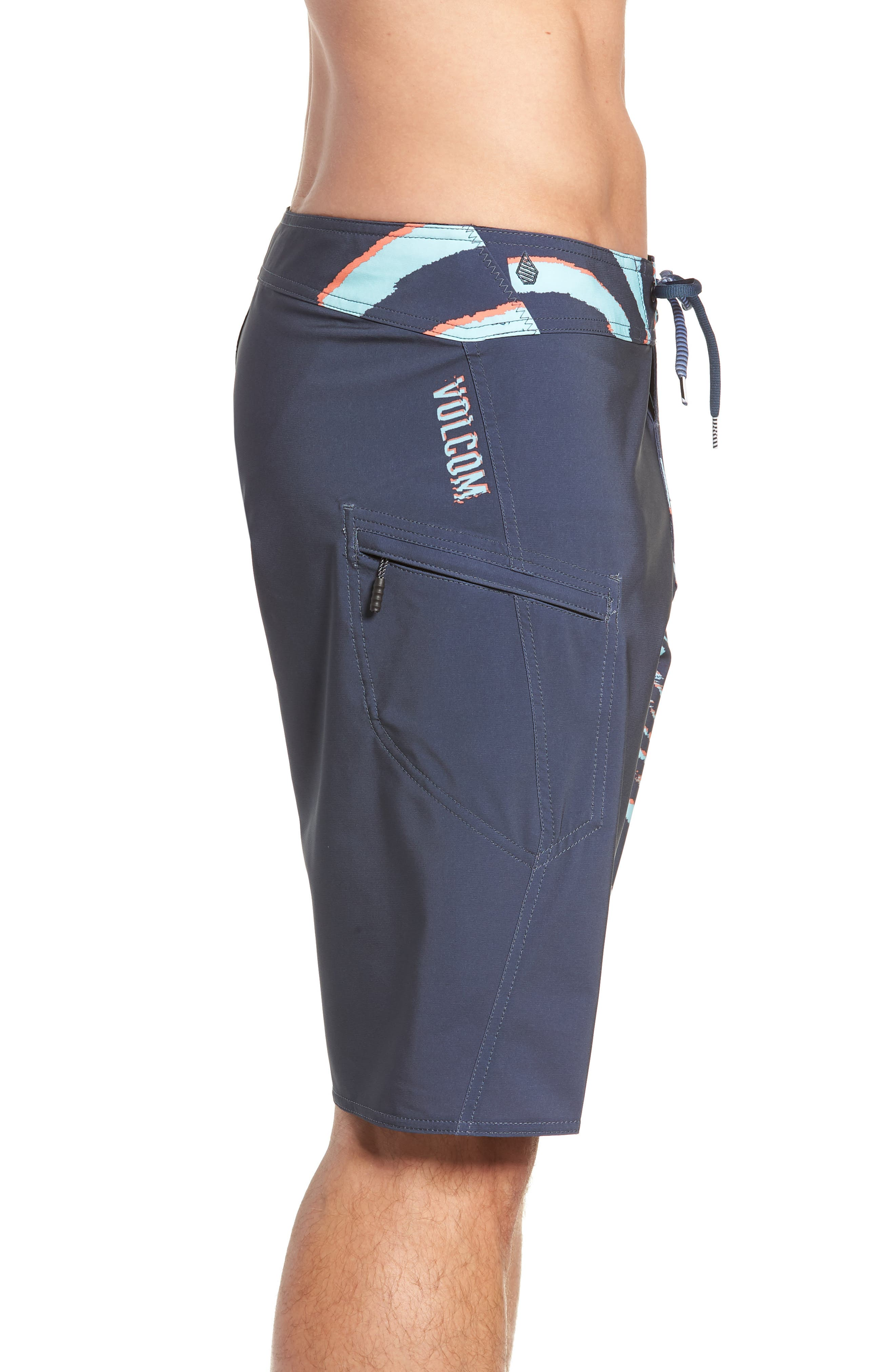 Lido Block Mod Board Shorts,                             Alternate thumbnail 3, color,                             MEDIUM BLUE