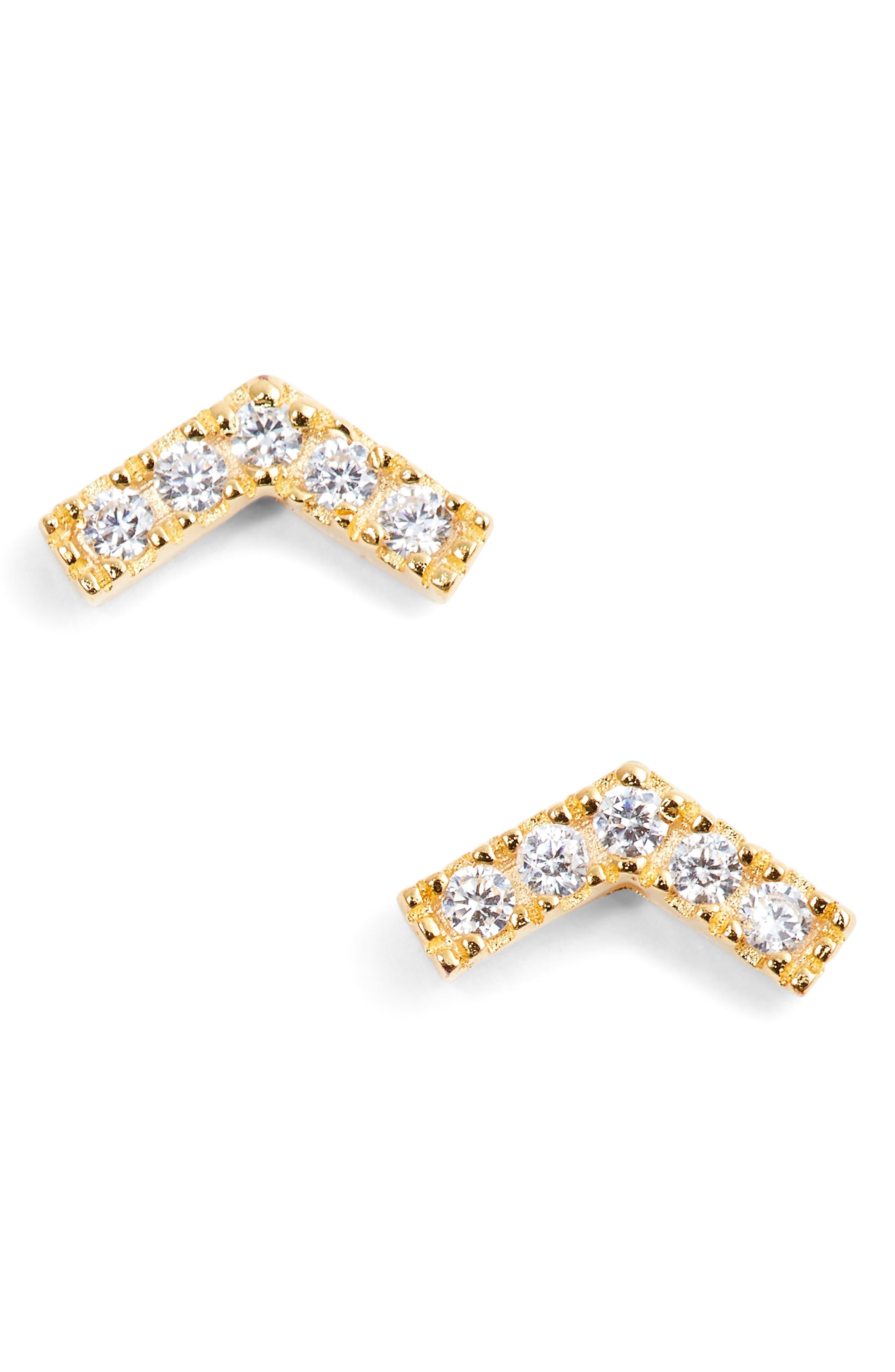 Chevron Stud Earrings,                             Main thumbnail 2, color,