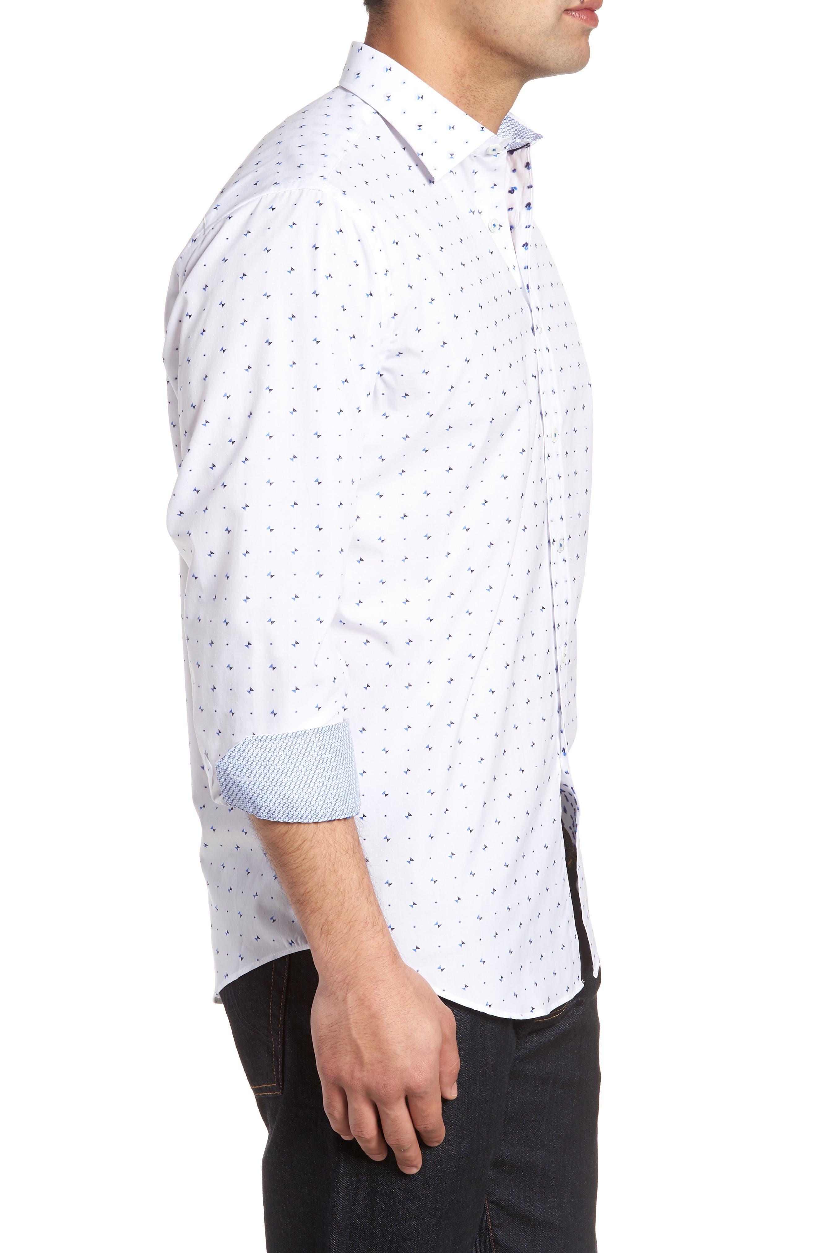 Classic Fit Woven Sport Shirt,                             Alternate thumbnail 3, color,                             100