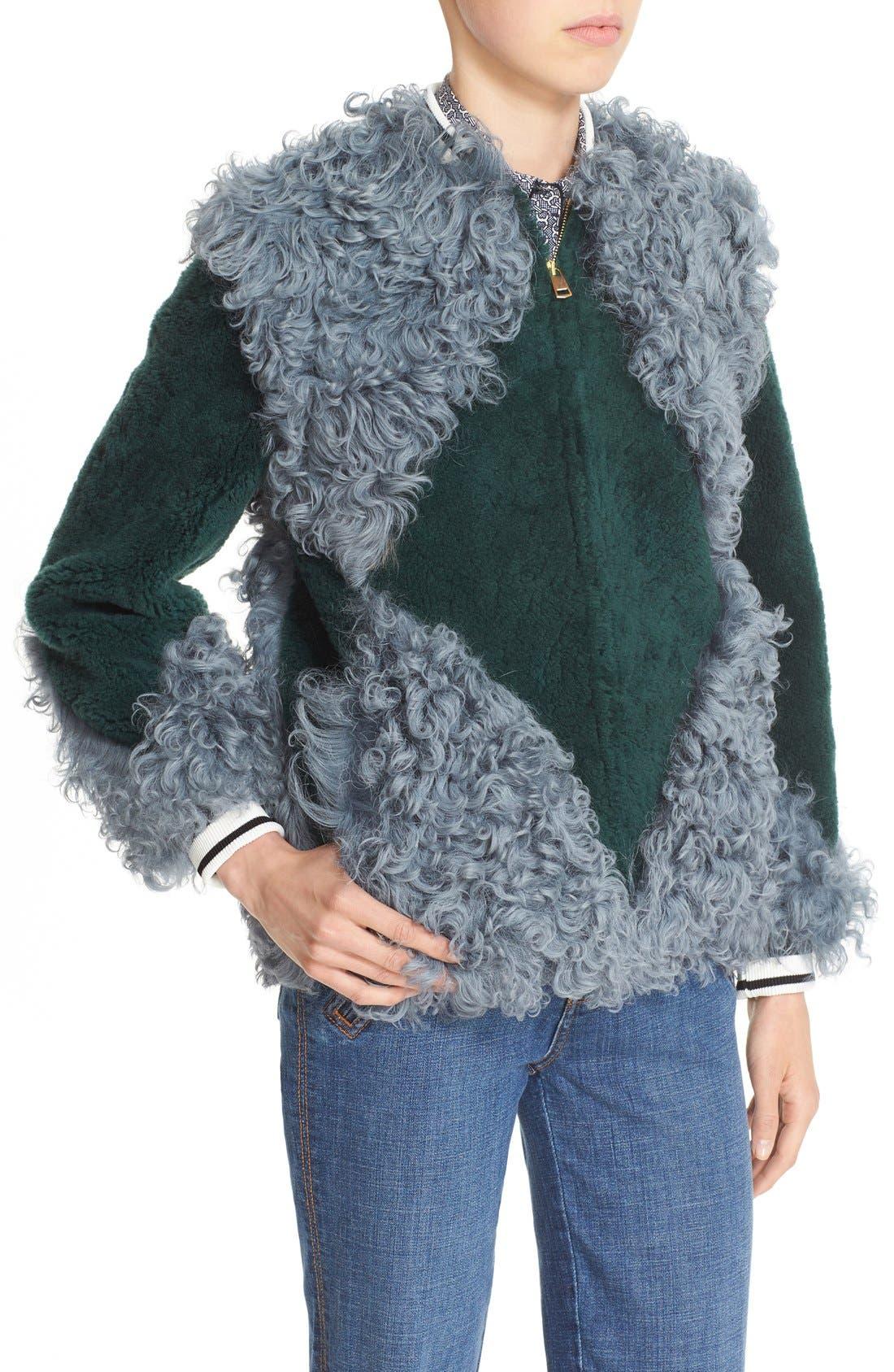'Bristol' Colorblock Genuine Shearling Jacket,                             Alternate thumbnail 4, color,                             318