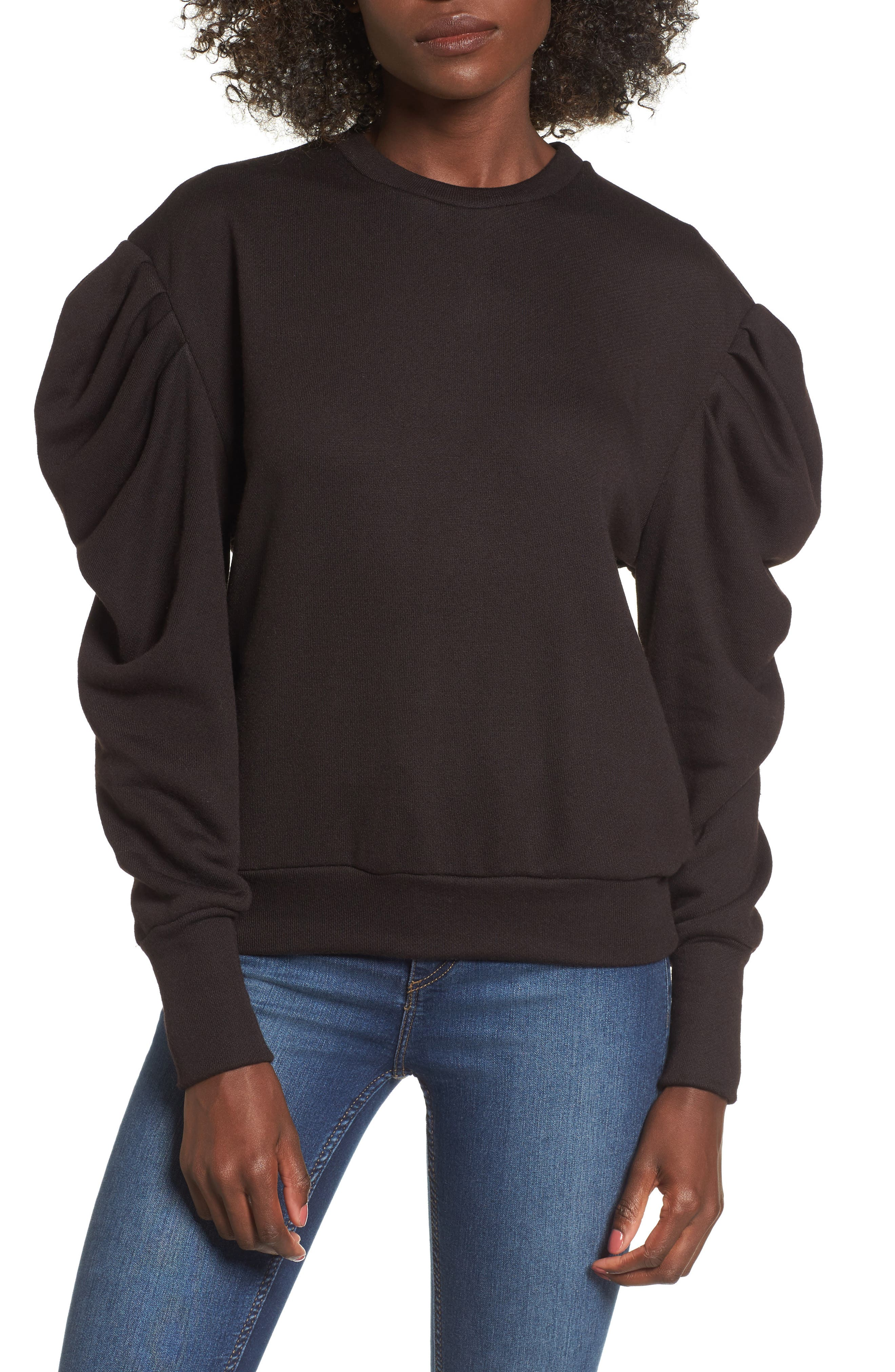 James Balloon Sleeve Sweatshirt,                             Main thumbnail 1, color,                             001