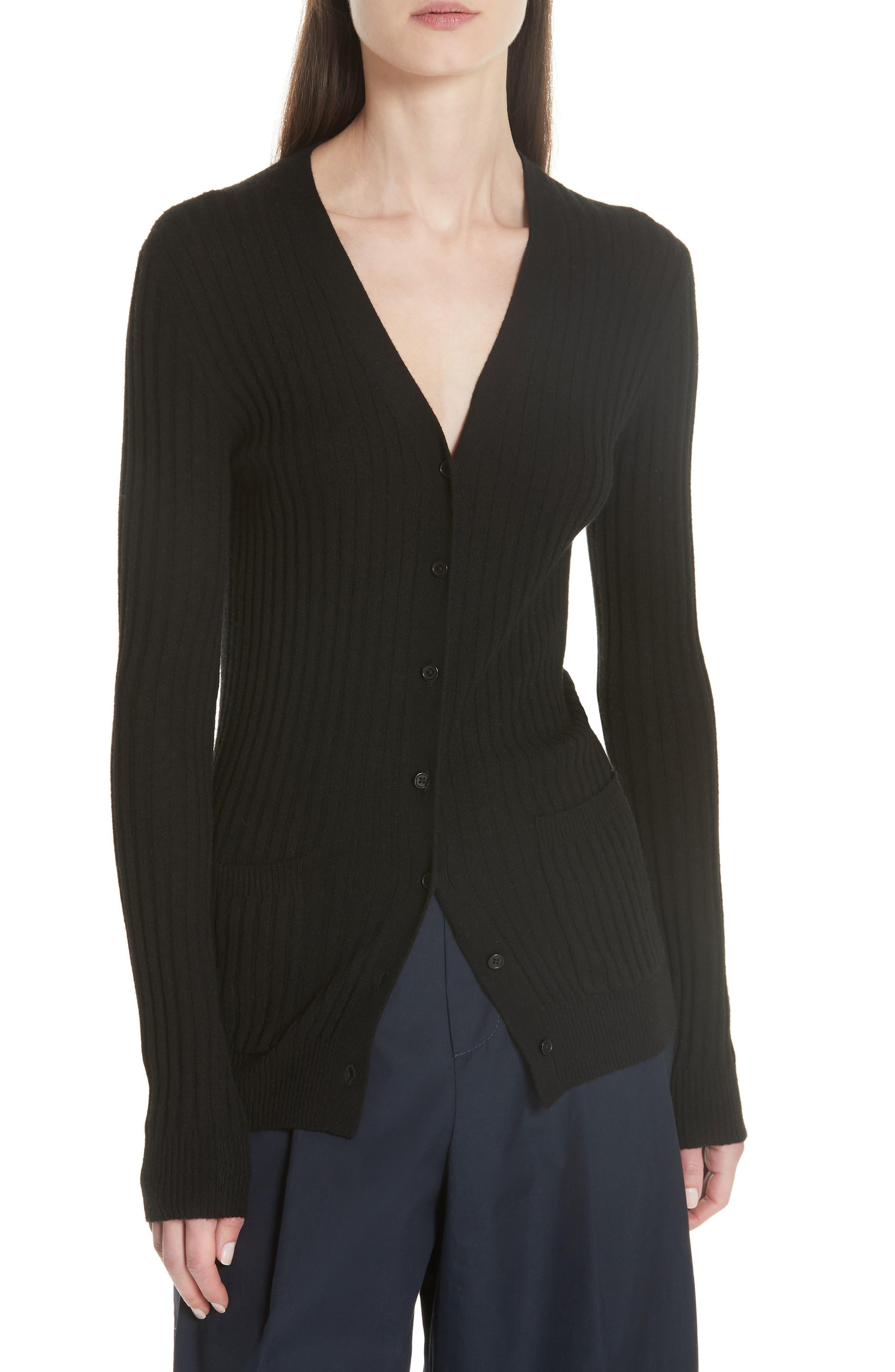 Ribbed Skinny Cashmere Cardigan,                             Main thumbnail 1, color,                             BLACK