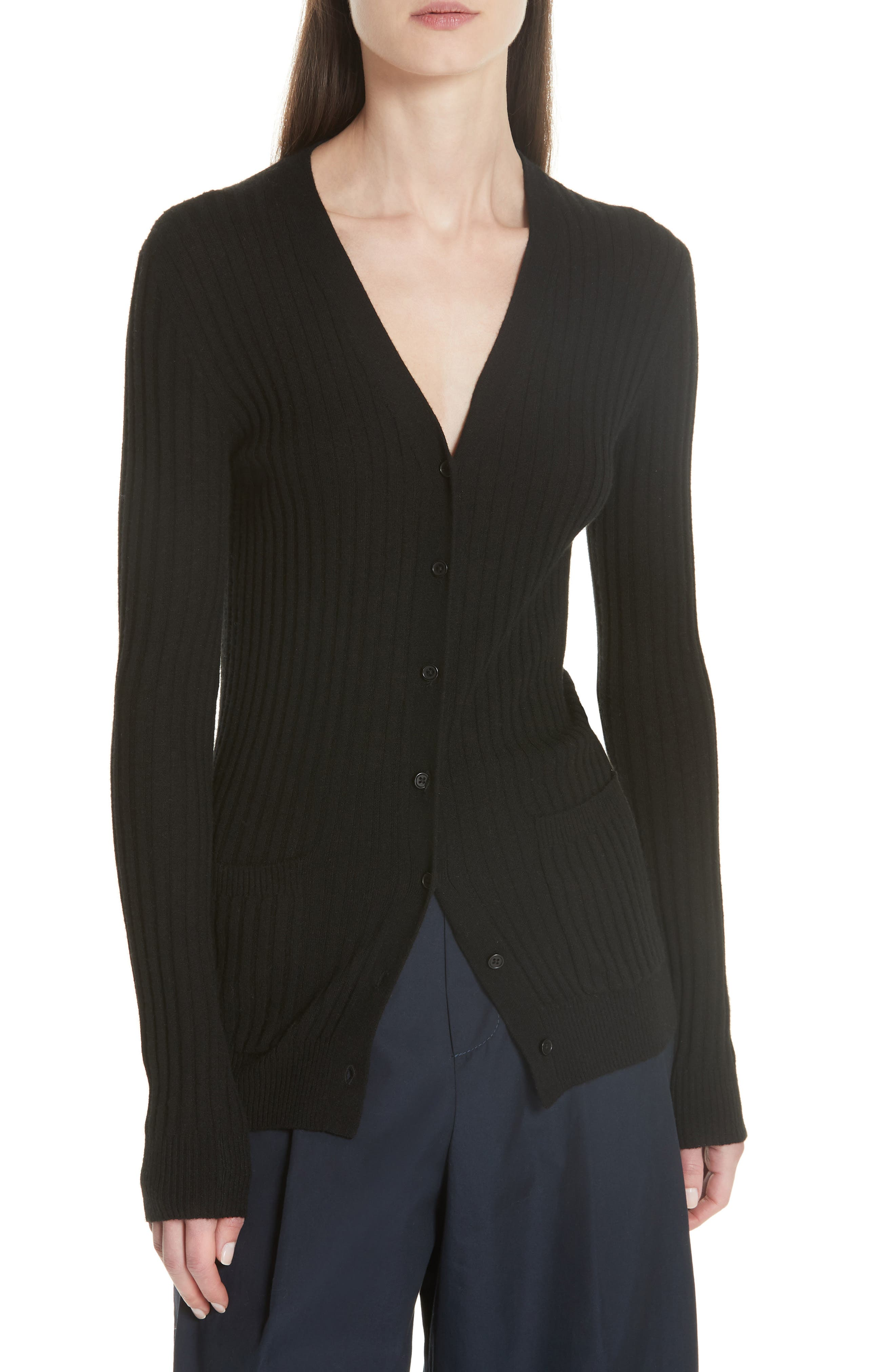 Ribbed Skinny Cashmere Cardigan,                         Main,                         color, BLACK