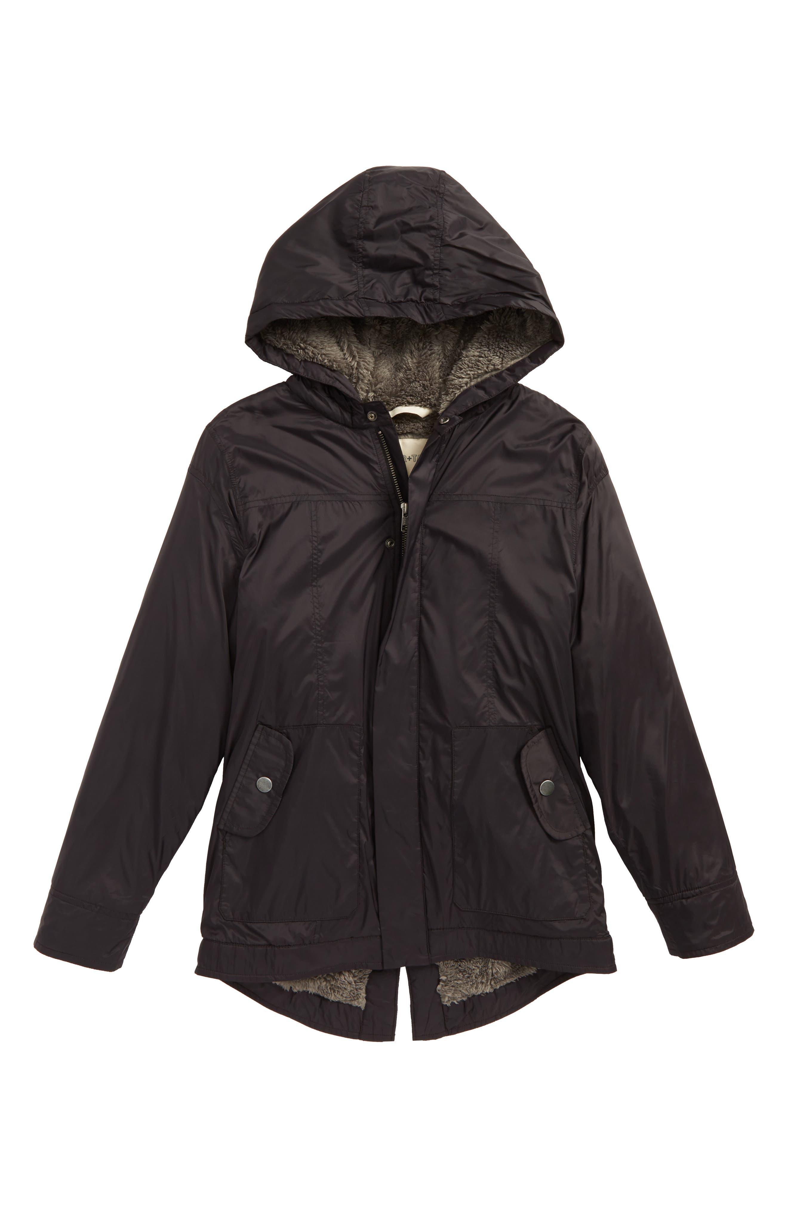 Water Resistant Nylon Hooded Jacket,                             Main thumbnail 1, color,                             001