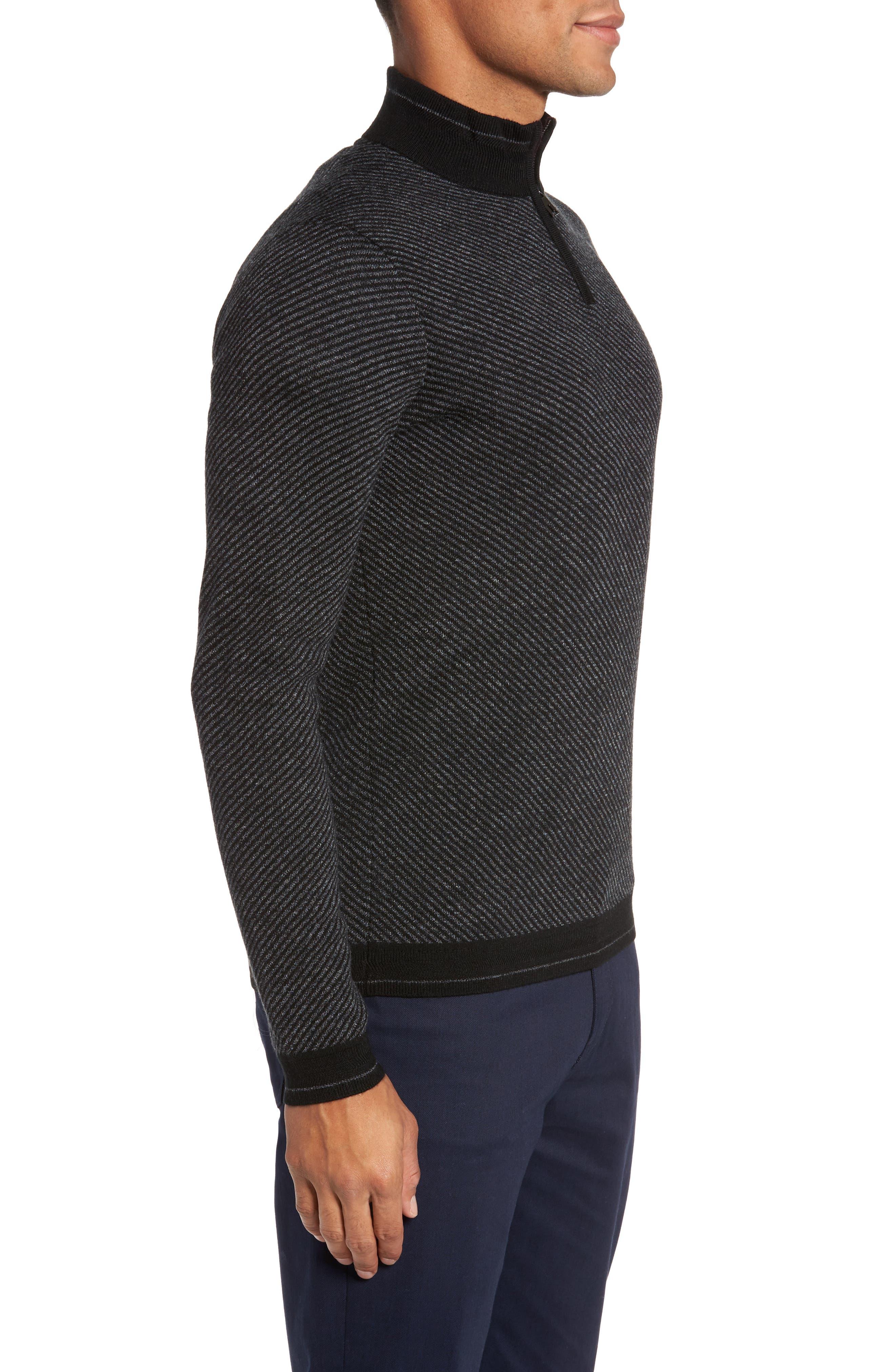 Stripe Quarter Zip Sweater,                             Alternate thumbnail 3, color,                             001