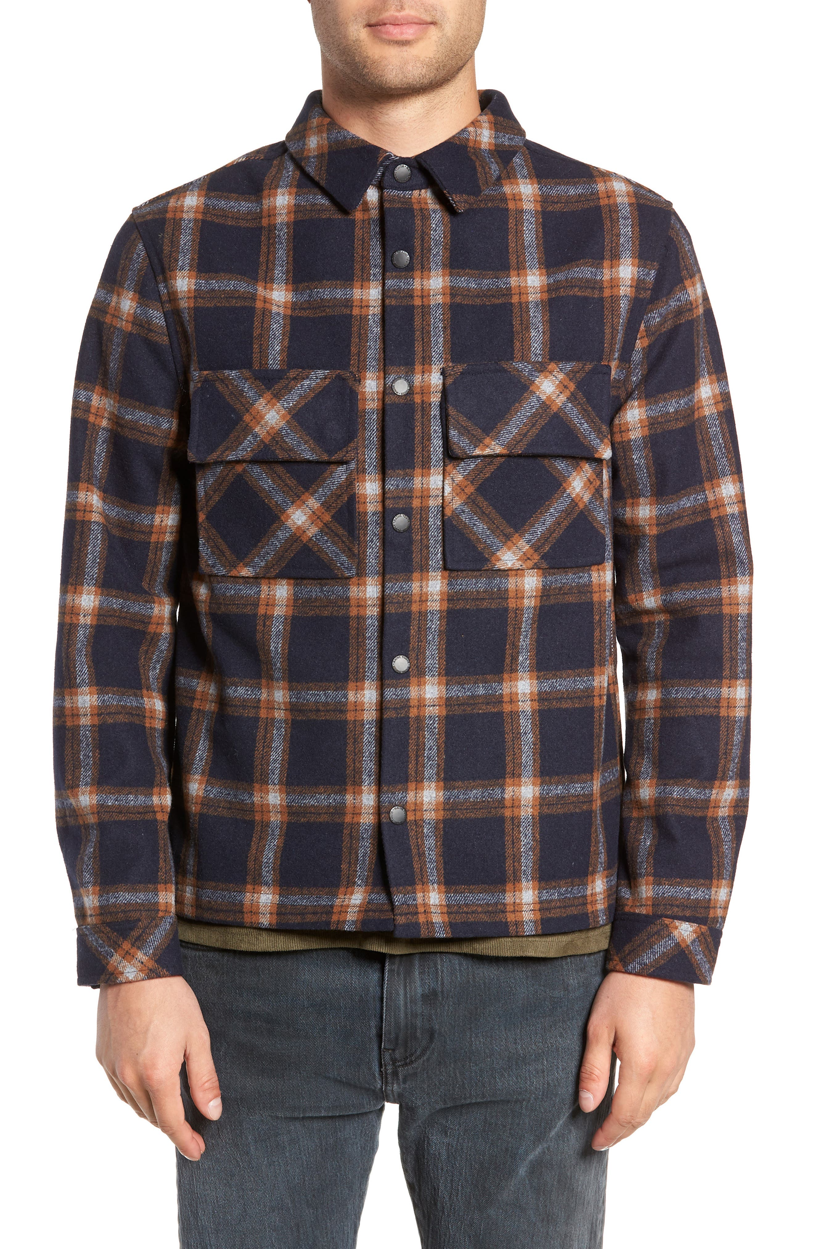NATIVE YOUTH,                             Check Flannel Shirt,                             Alternate thumbnail 2, color,                             NAVY