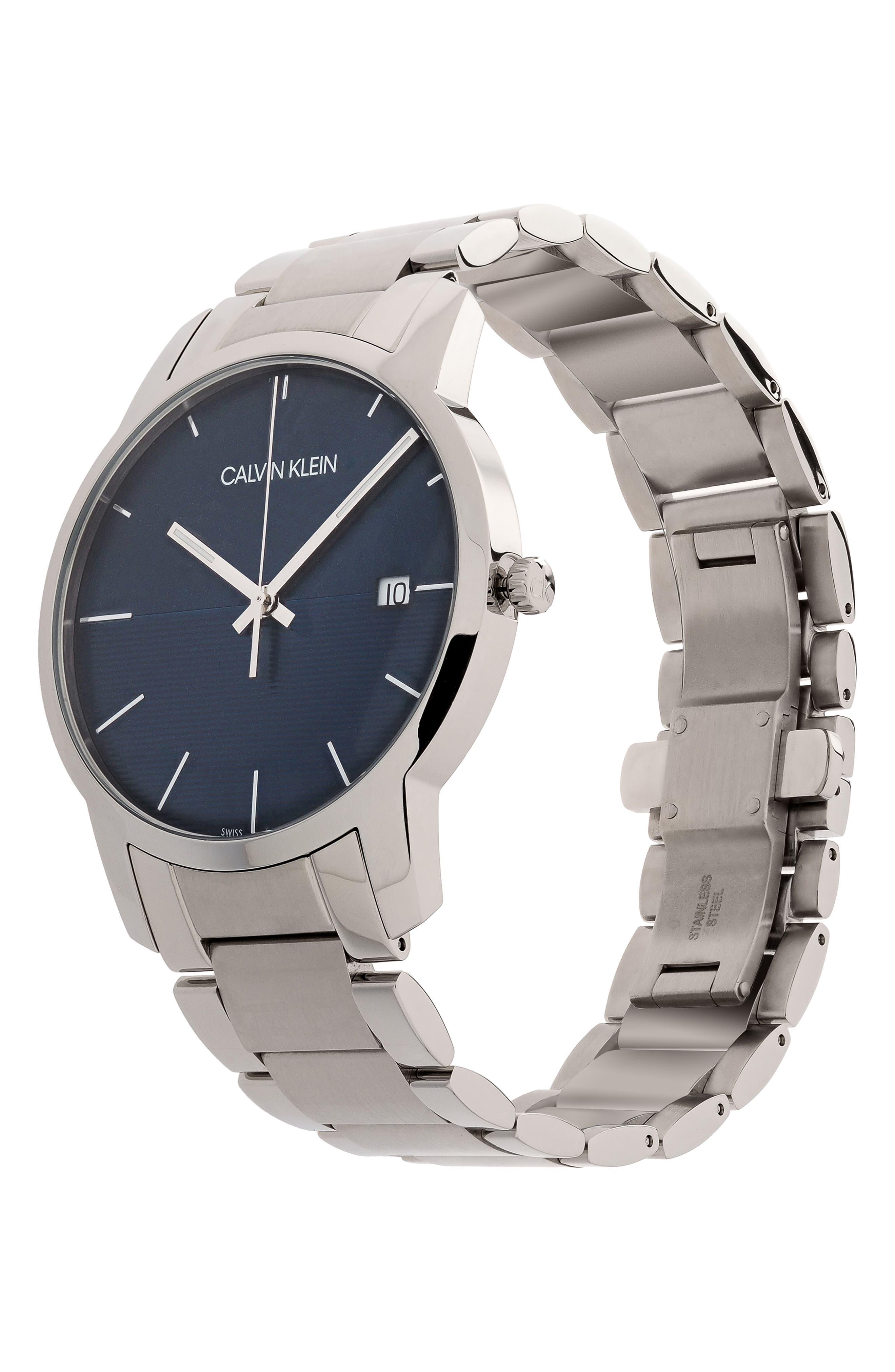 City Bracelet Watch, 43mm,                             Alternate thumbnail 3, color,                             SILVER/ BLUE/ SILVER