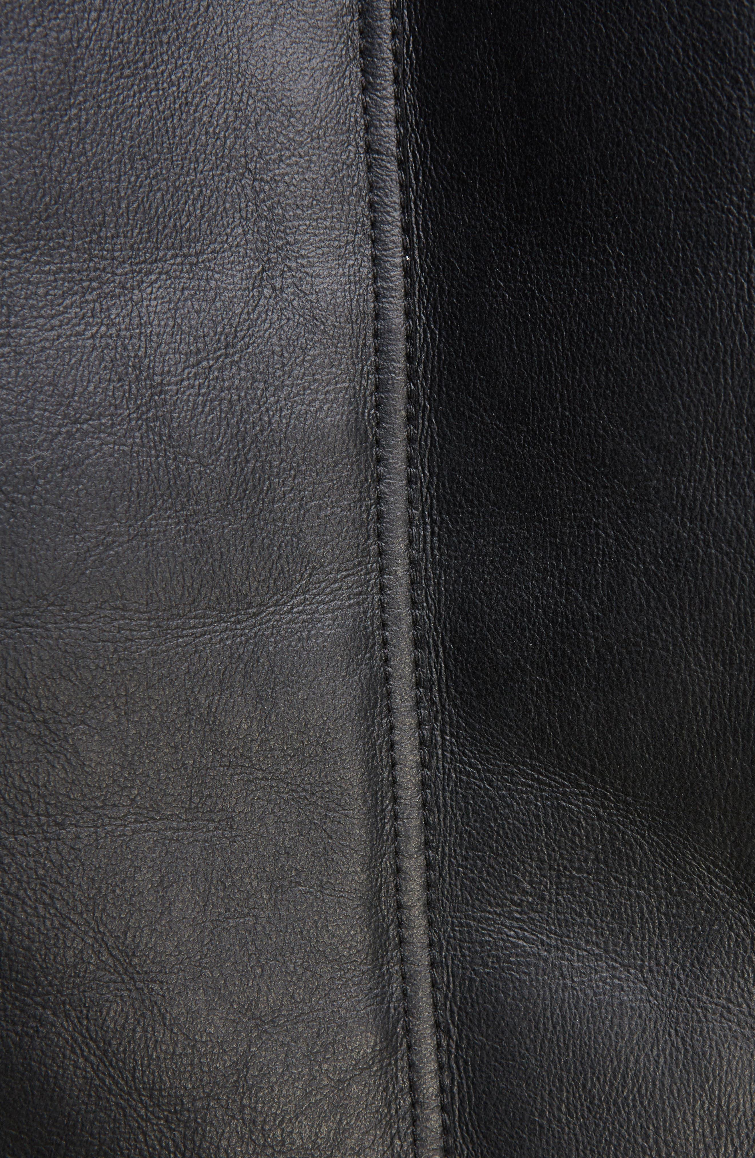 Velocite Genuine Shearling Oversize Moto Jacket,                             Alternate thumbnail 5, color,                             001