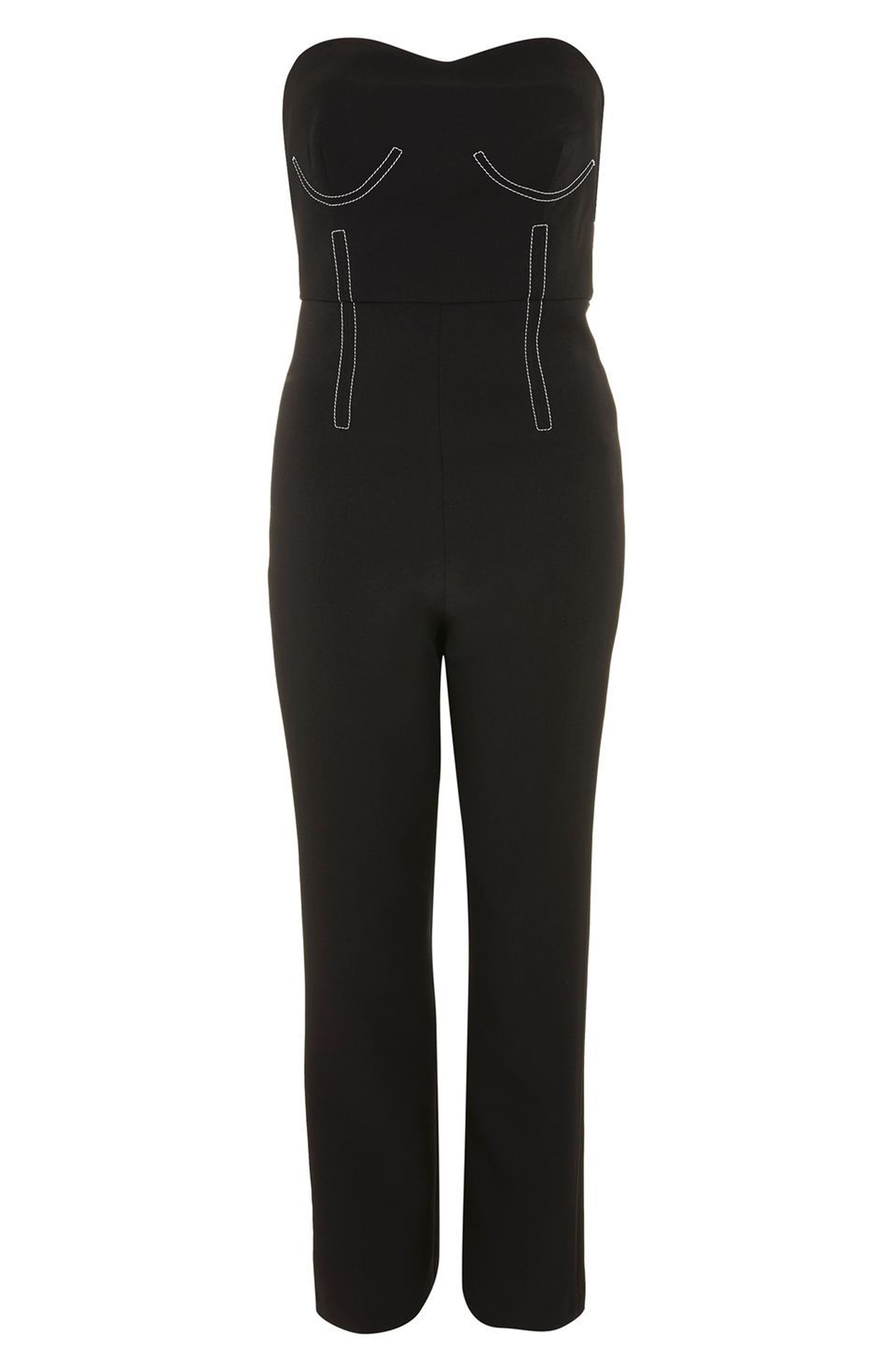 Constrast Stitch Strapless Jumpsuit,                             Alternate thumbnail 4, color,
