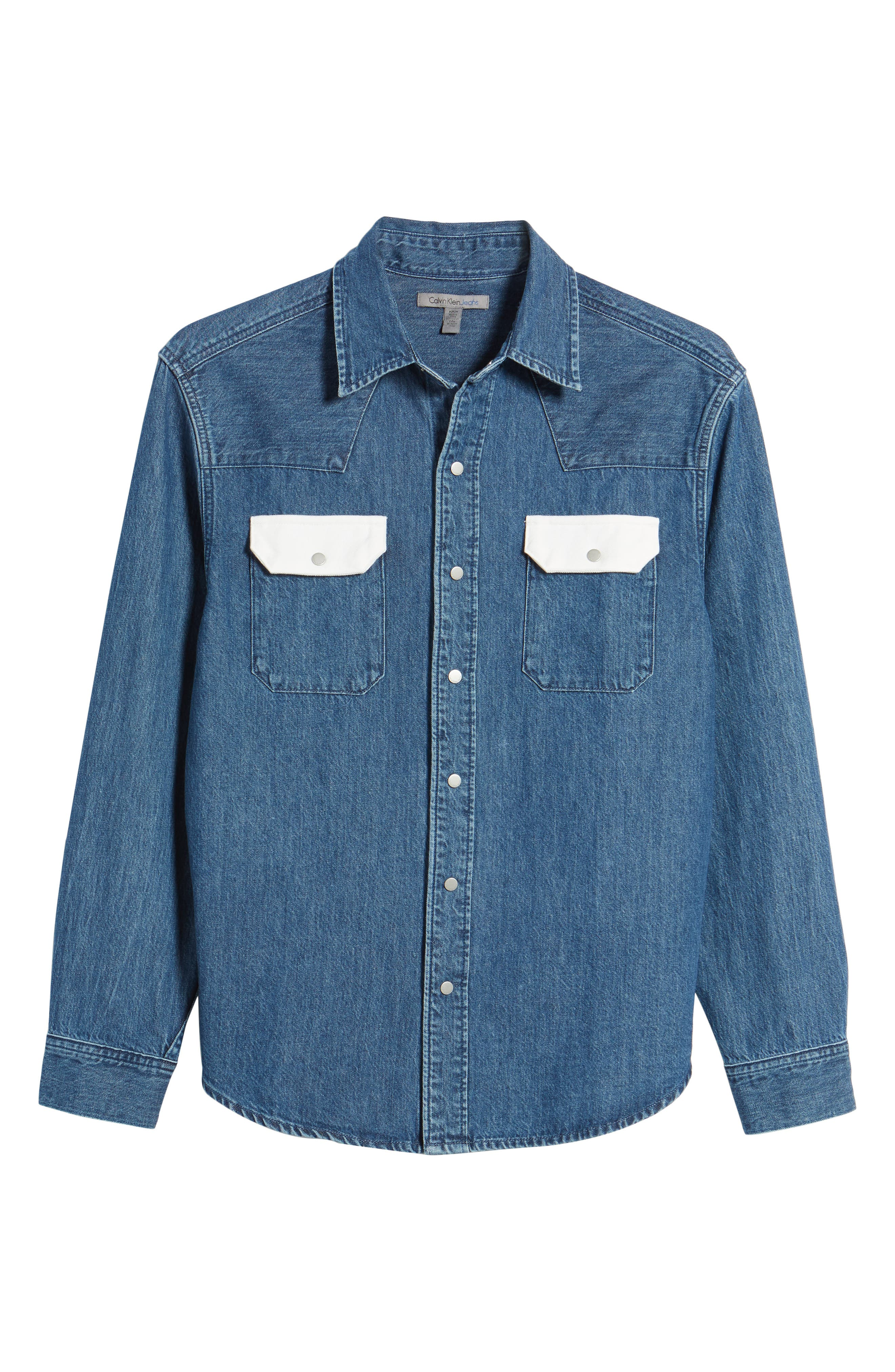 Calvin Klein Archive Colorblock Denim Western Shirt,                             Alternate thumbnail 6, color,                             400