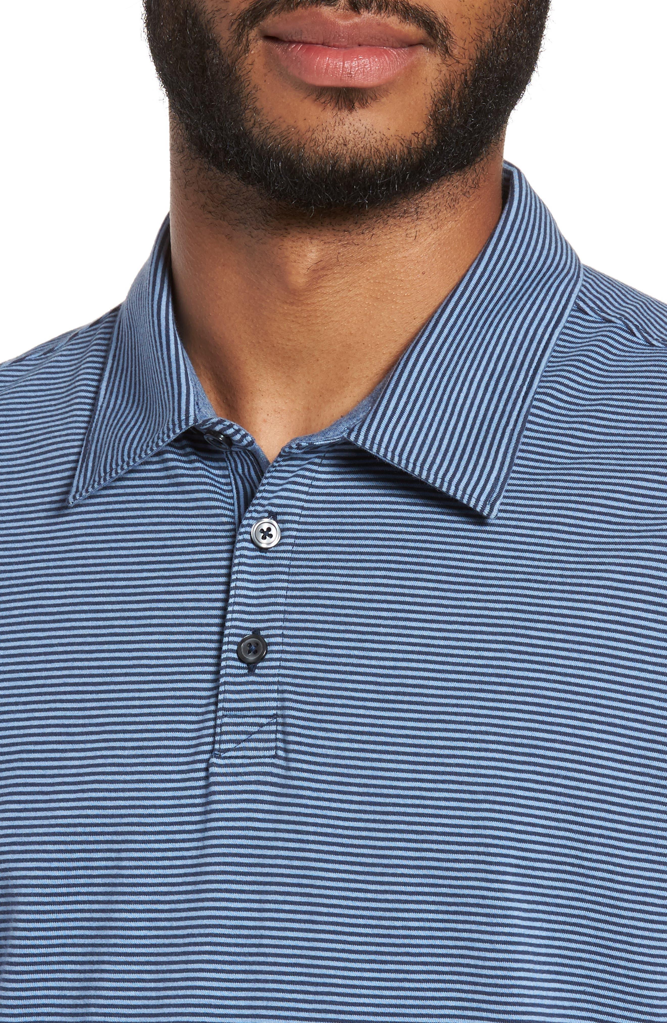 Gilmore Stripe Jersey Polo,                             Alternate thumbnail 4, color,                             BLUE