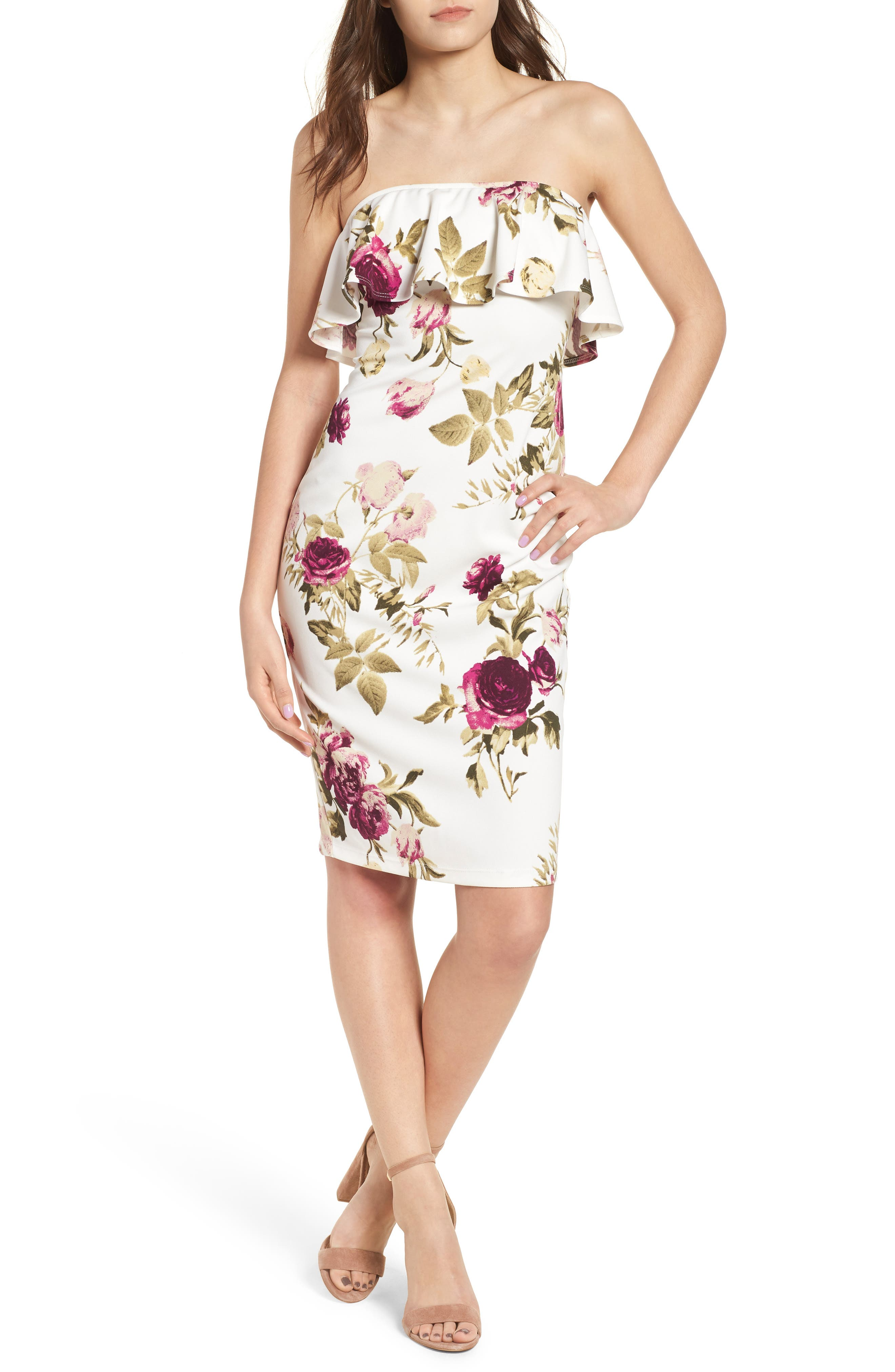 SPEECHLESS Strapless Flounce Dress, Main, color, 900