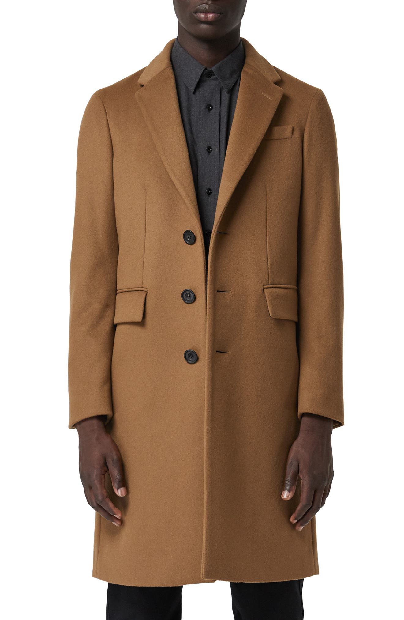 Halesowen Wool and Cashmere Overcoat,                             Main thumbnail 1, color,                             DARK CAMEL