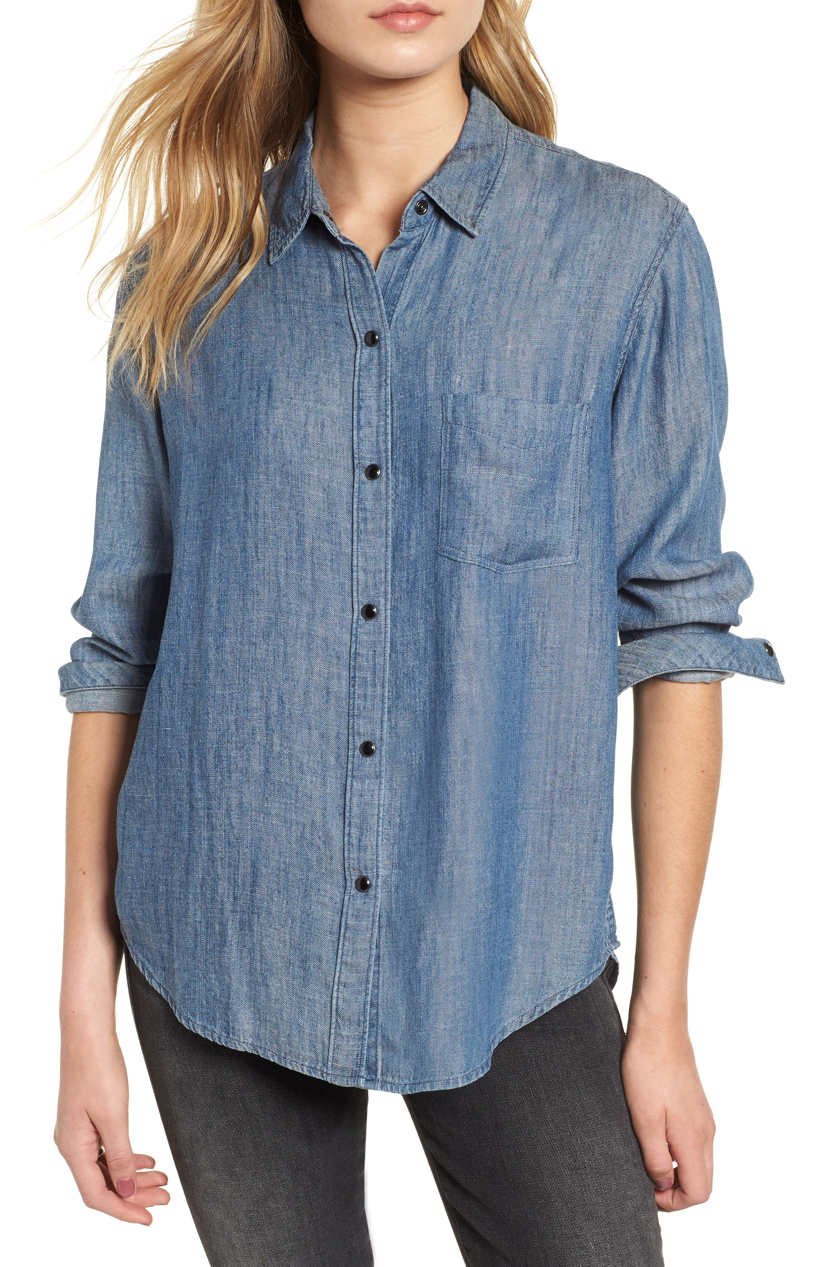 Cass Chambray Top,                         Main,                         color, DARK VINTAGE WASH